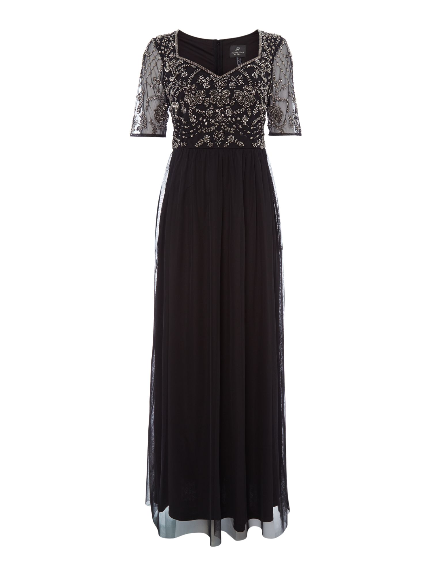 Adrianna Papell Lace top gown, Black