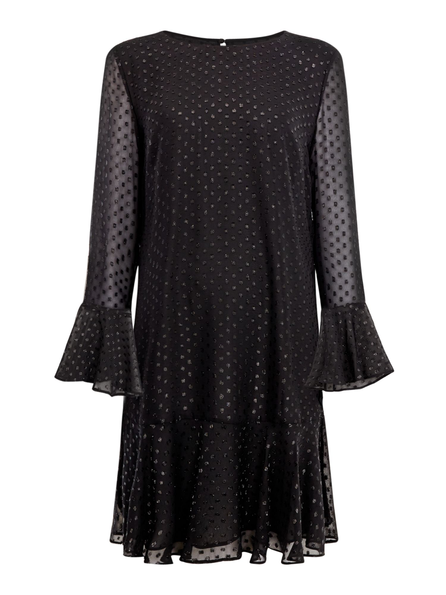 Linea Berti drop hem sparkle dress, Black