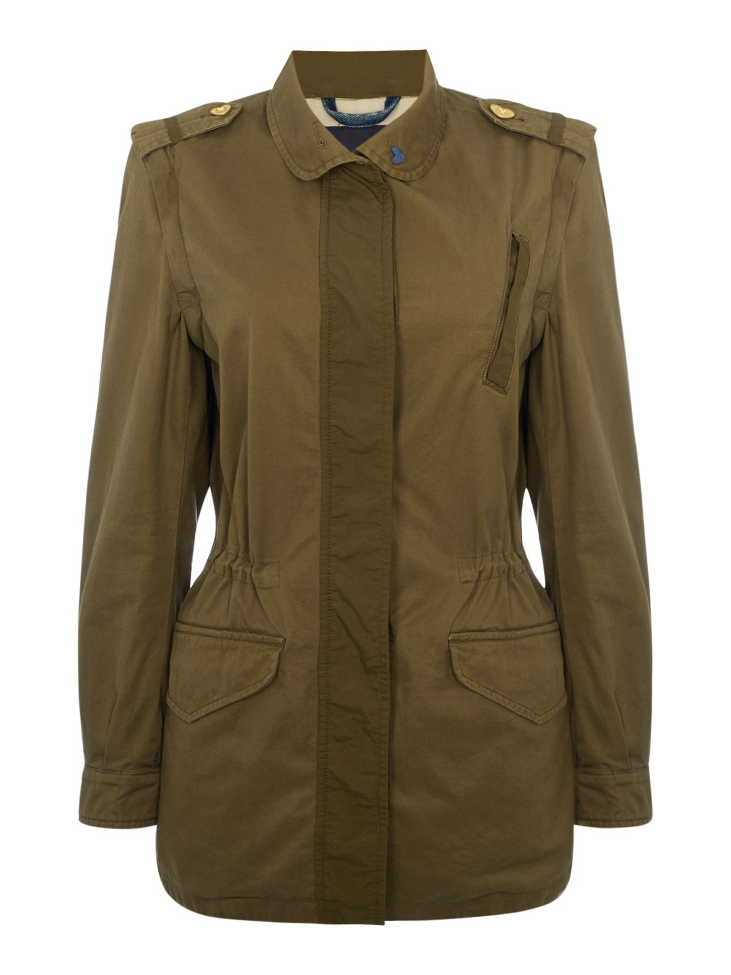 Maison Scotch Jacket with Detatchable sleeves, Green