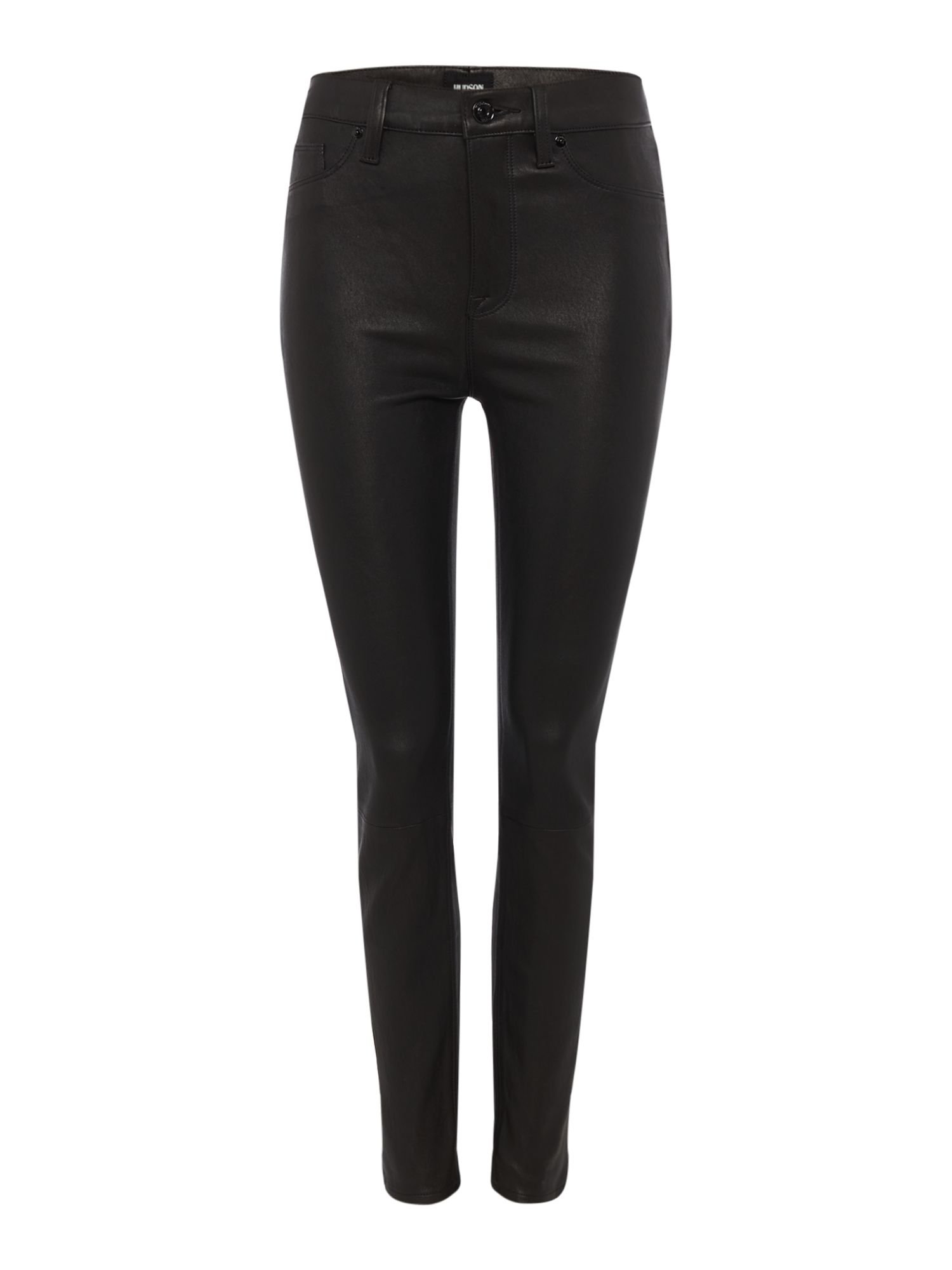 Barbara High Waist Leather Super Skinny Jeans, Black