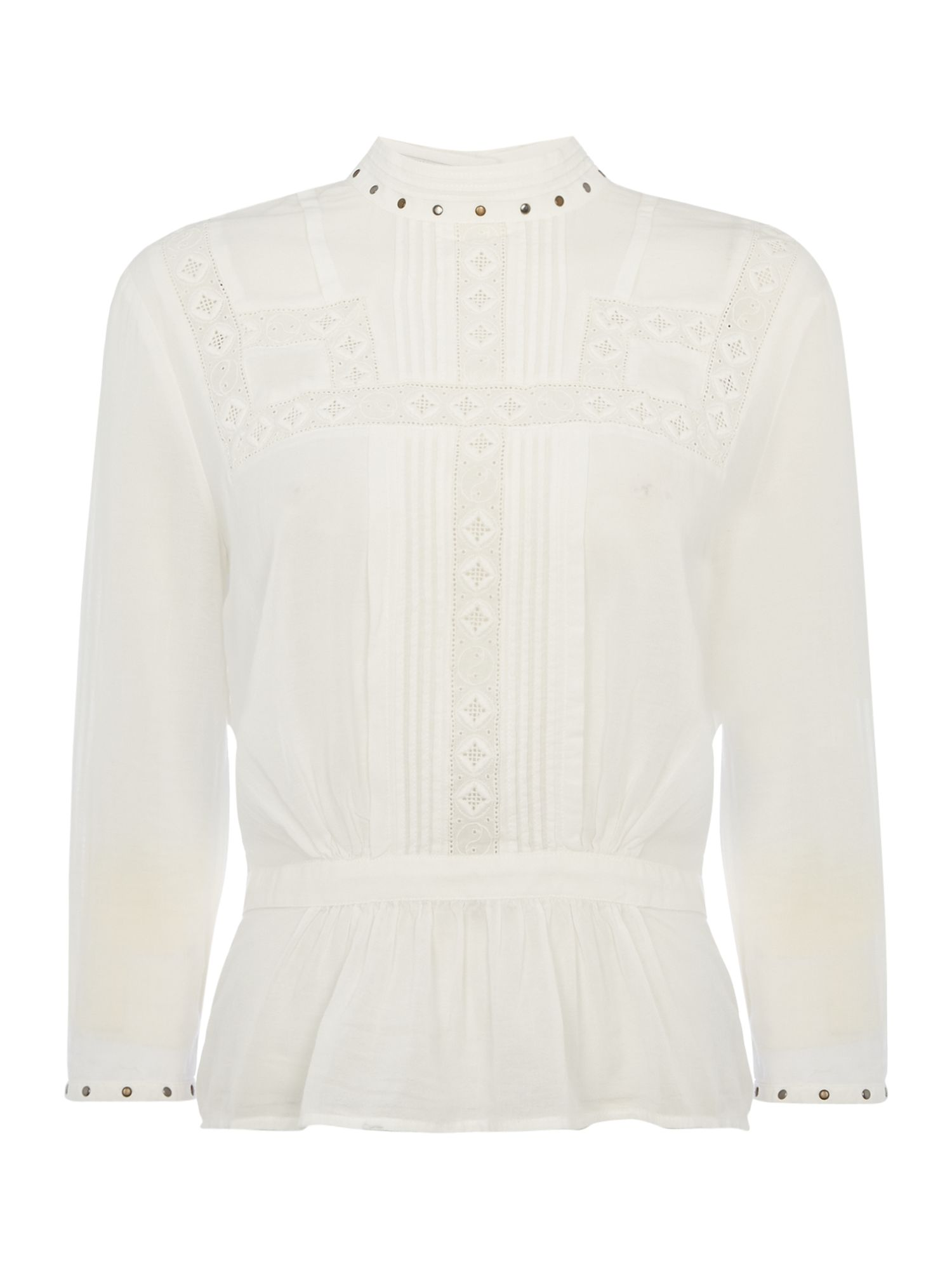 Maison Scotch Embroidered top with stud detail, White