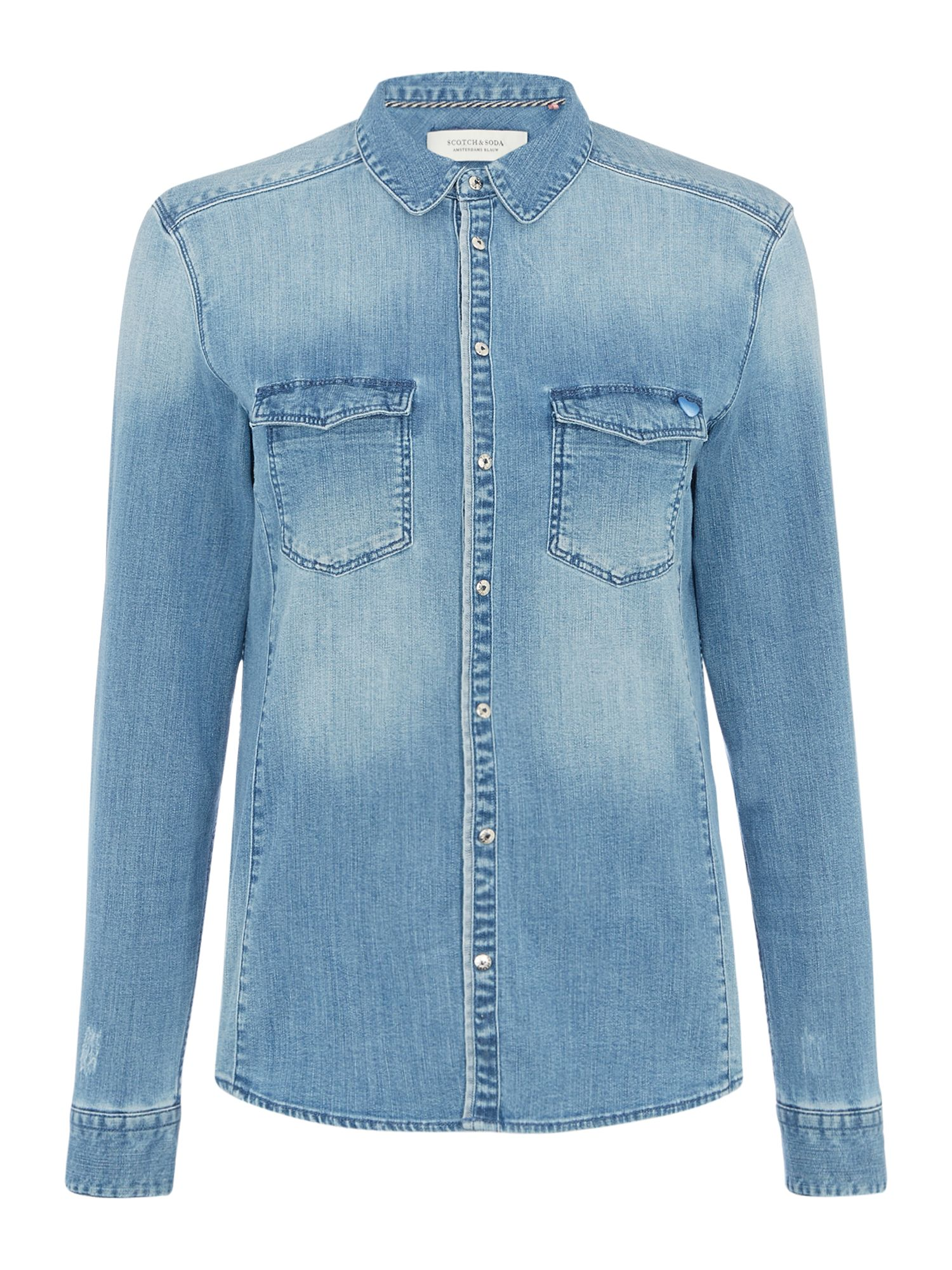 Maison Scotch Denim shirt with pin badge, Blue