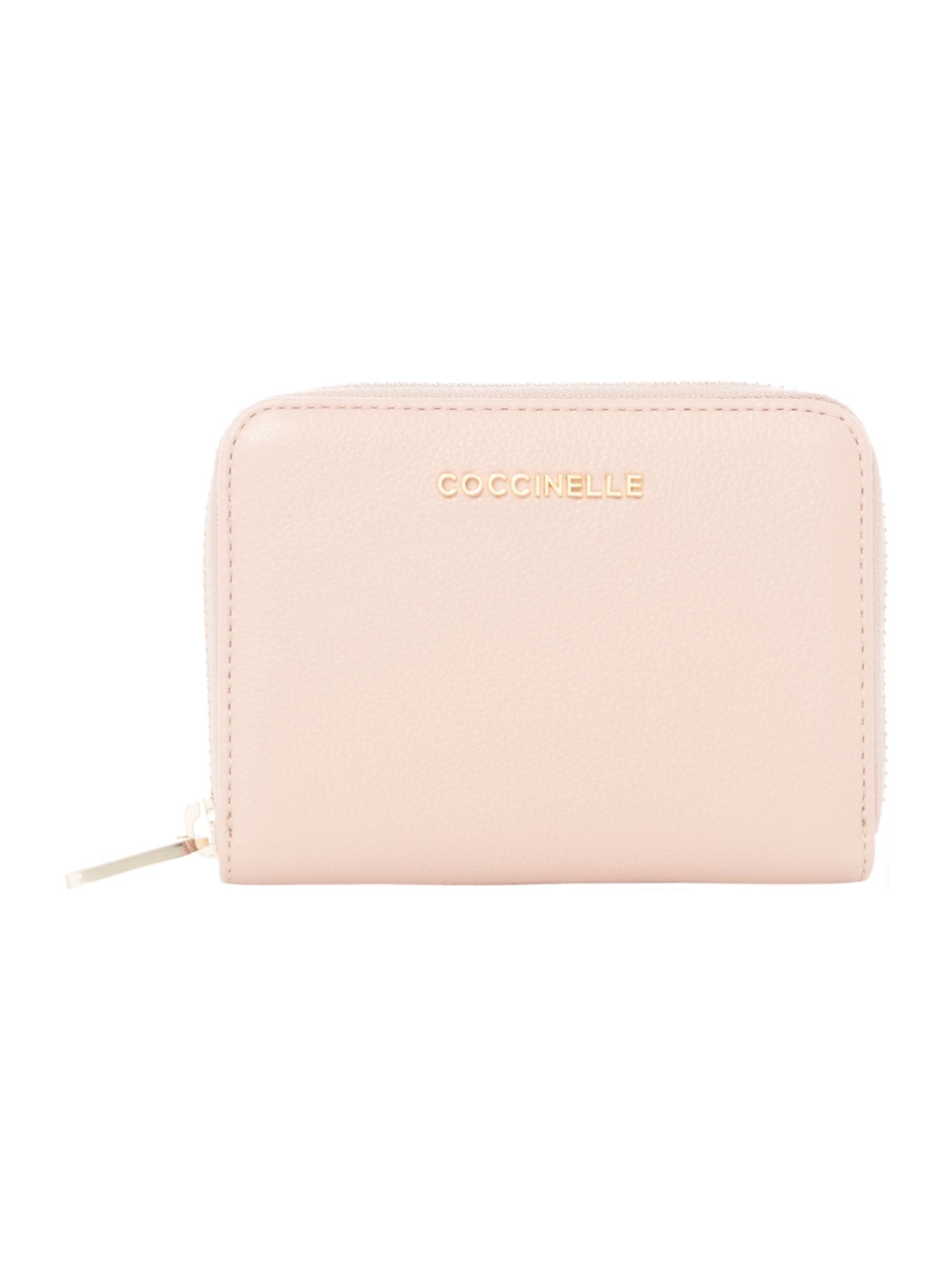 Coccinelle Metallic soft leather small zip around, Pink