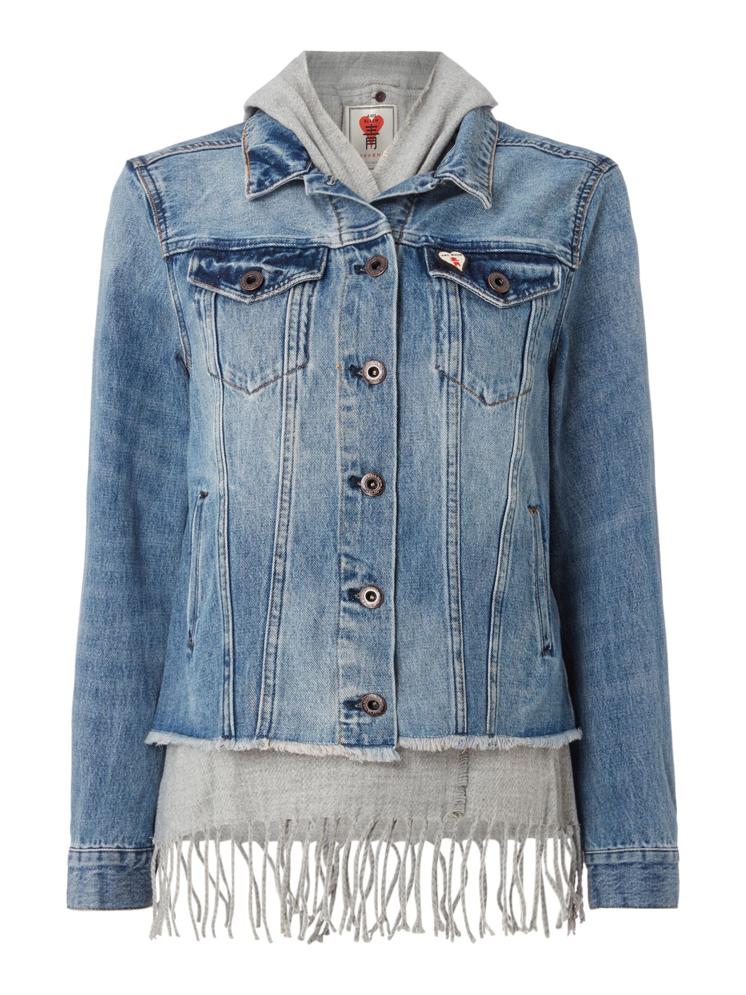 Maison Scotch Denim Jacket With Fringe Detail, Blue