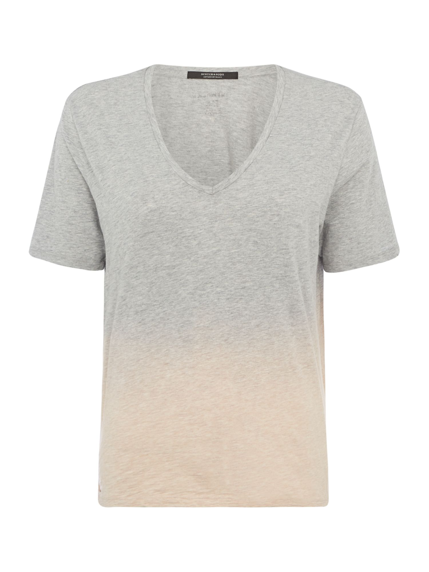 Maison Scotch Dip Dye V neck Tee, Grey