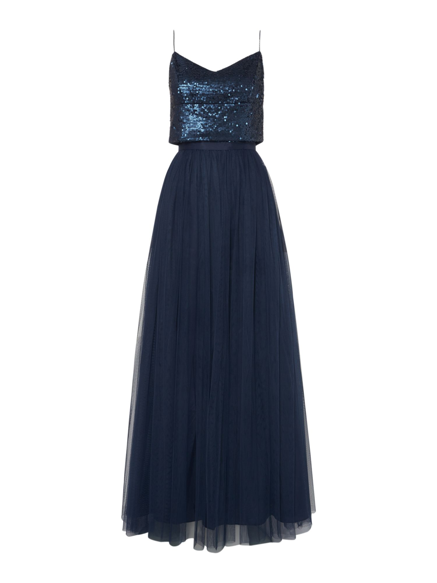 Adrianna Papell Pattern top strappy gown, Blue