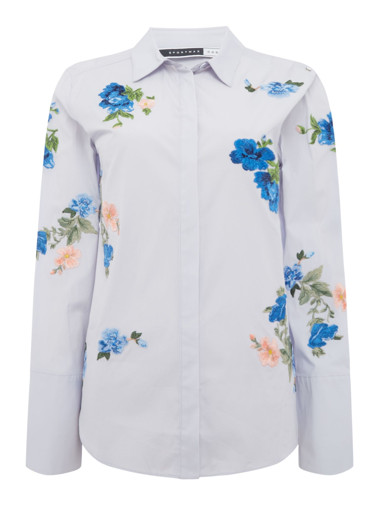 Sportmax Code Borneo embroidered floral shirt, Blue