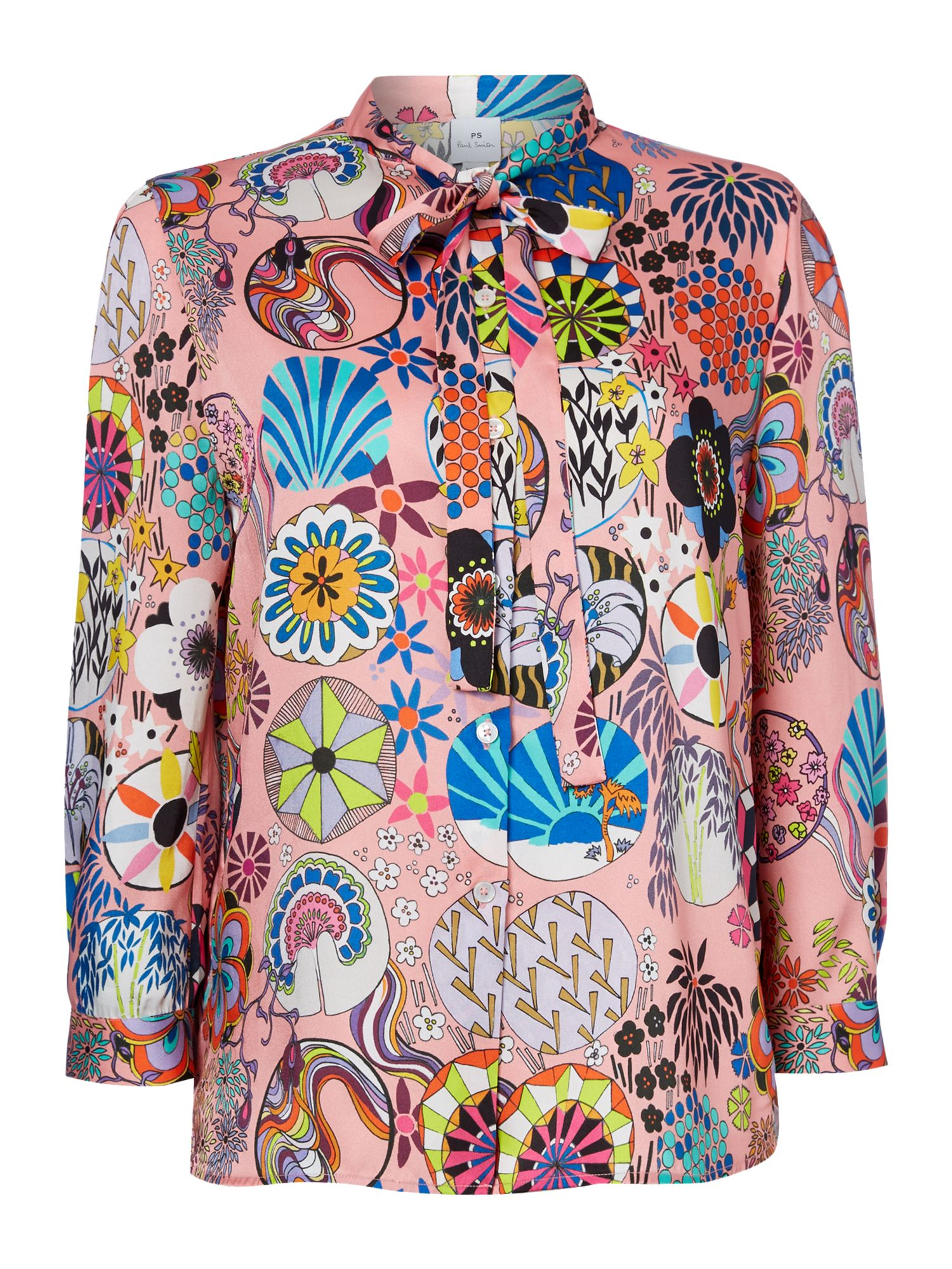 PS By Paul Smith Tie neck enso print shirt, Multi-Coloured