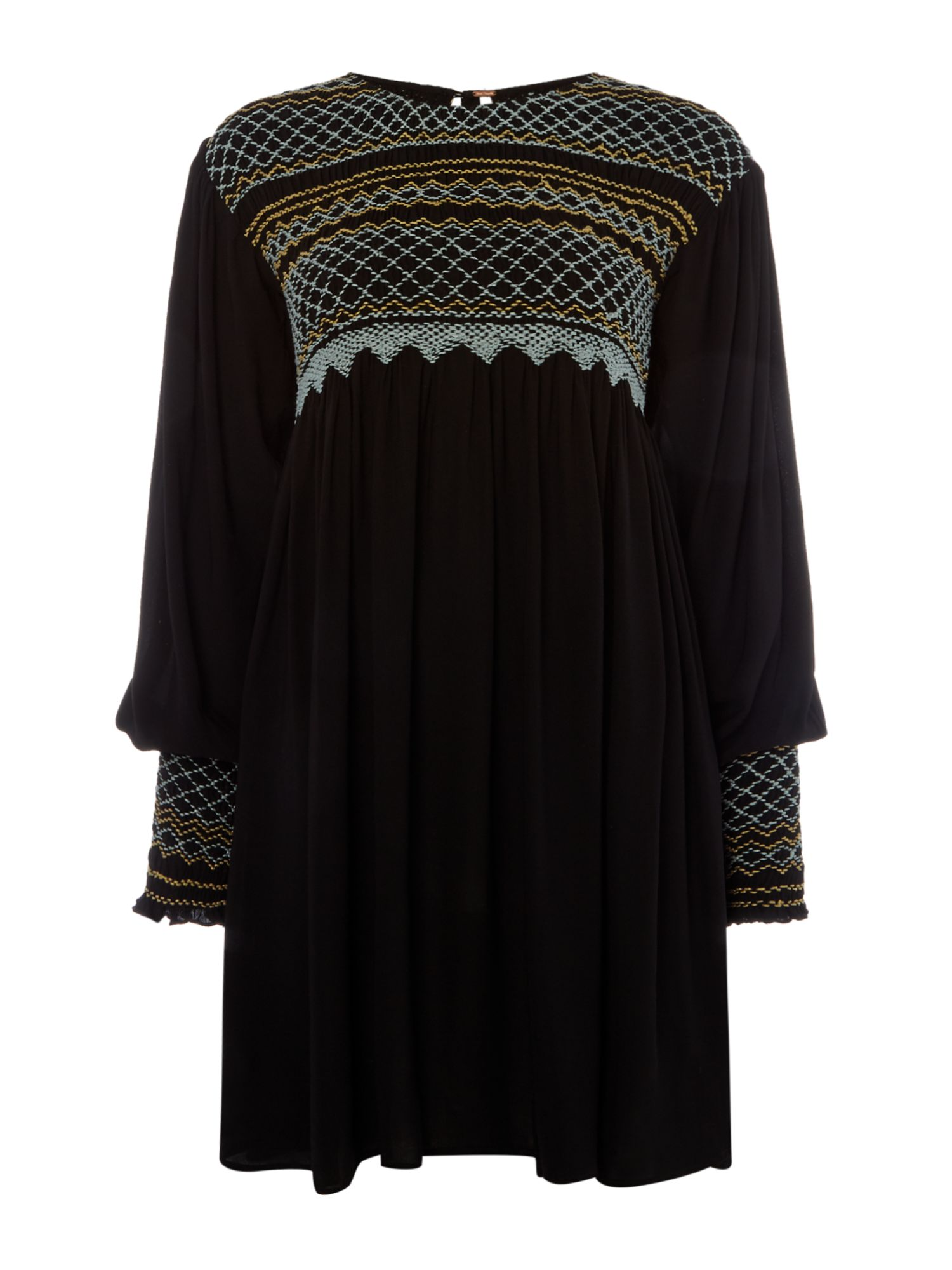 Free People Late Night Picnic Long sleeve Embroidered Dress, Black
