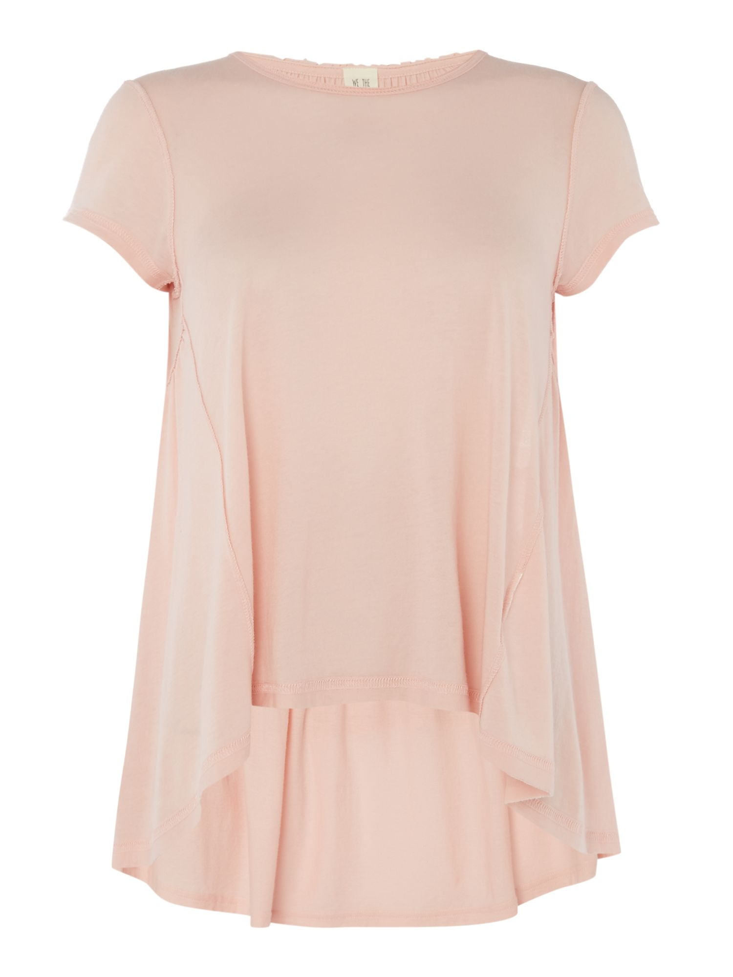 Free People It`s Yours Dipped Hem Short Sleeve Tee, Pink