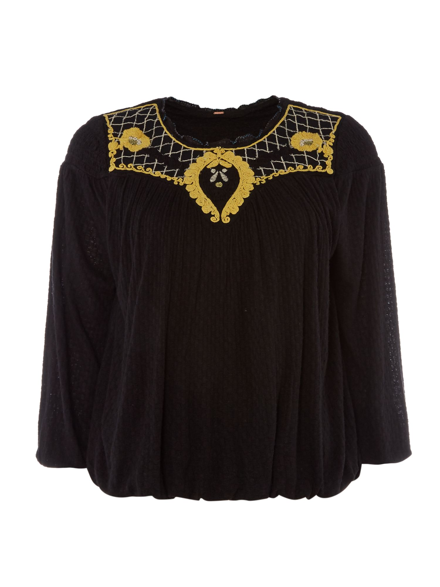 Free People Begonia 34 Sleeve Tee with Embroidery, Black