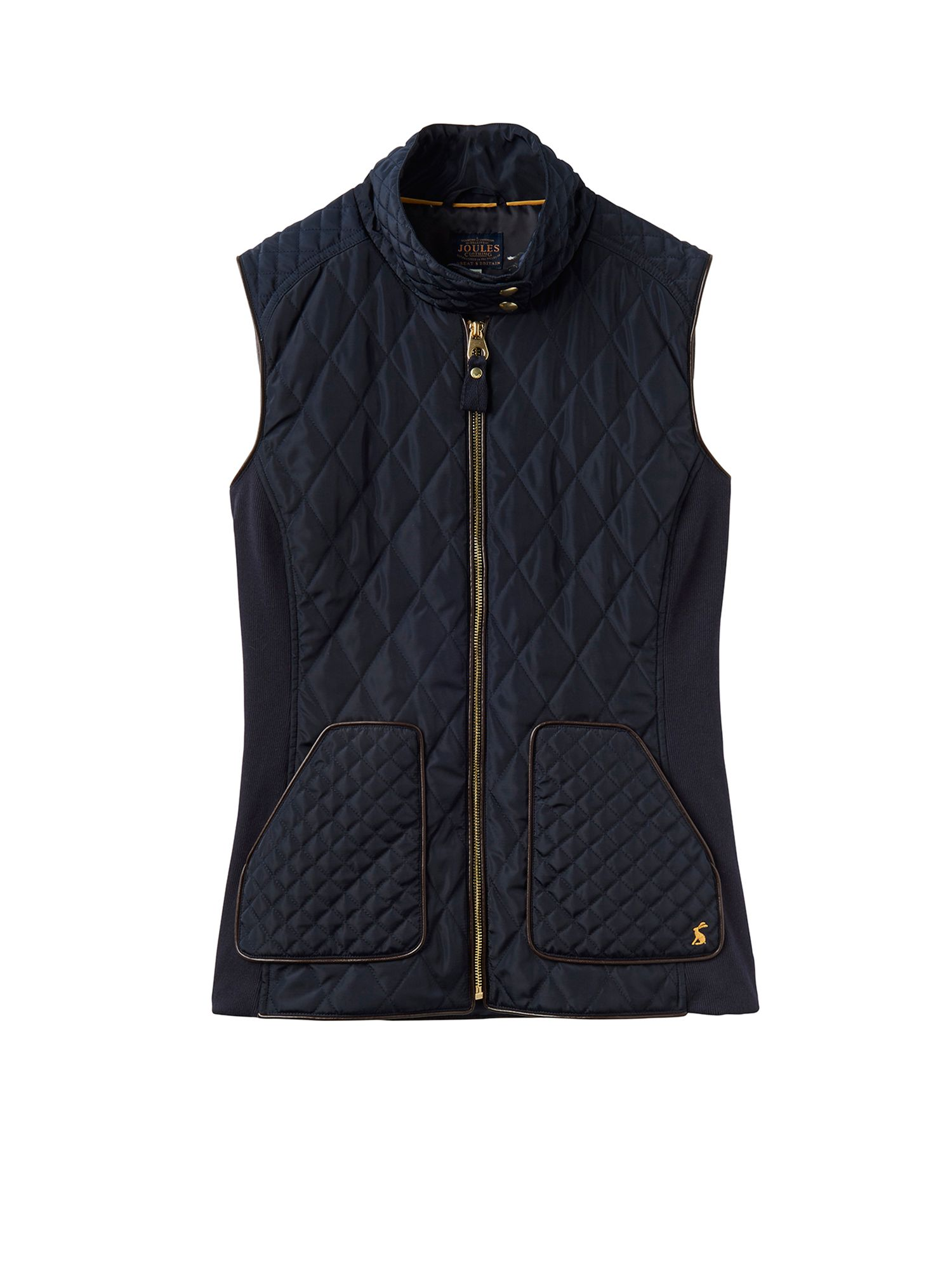 Joules Braemar Collar Neck Quilted Gilet, Marine