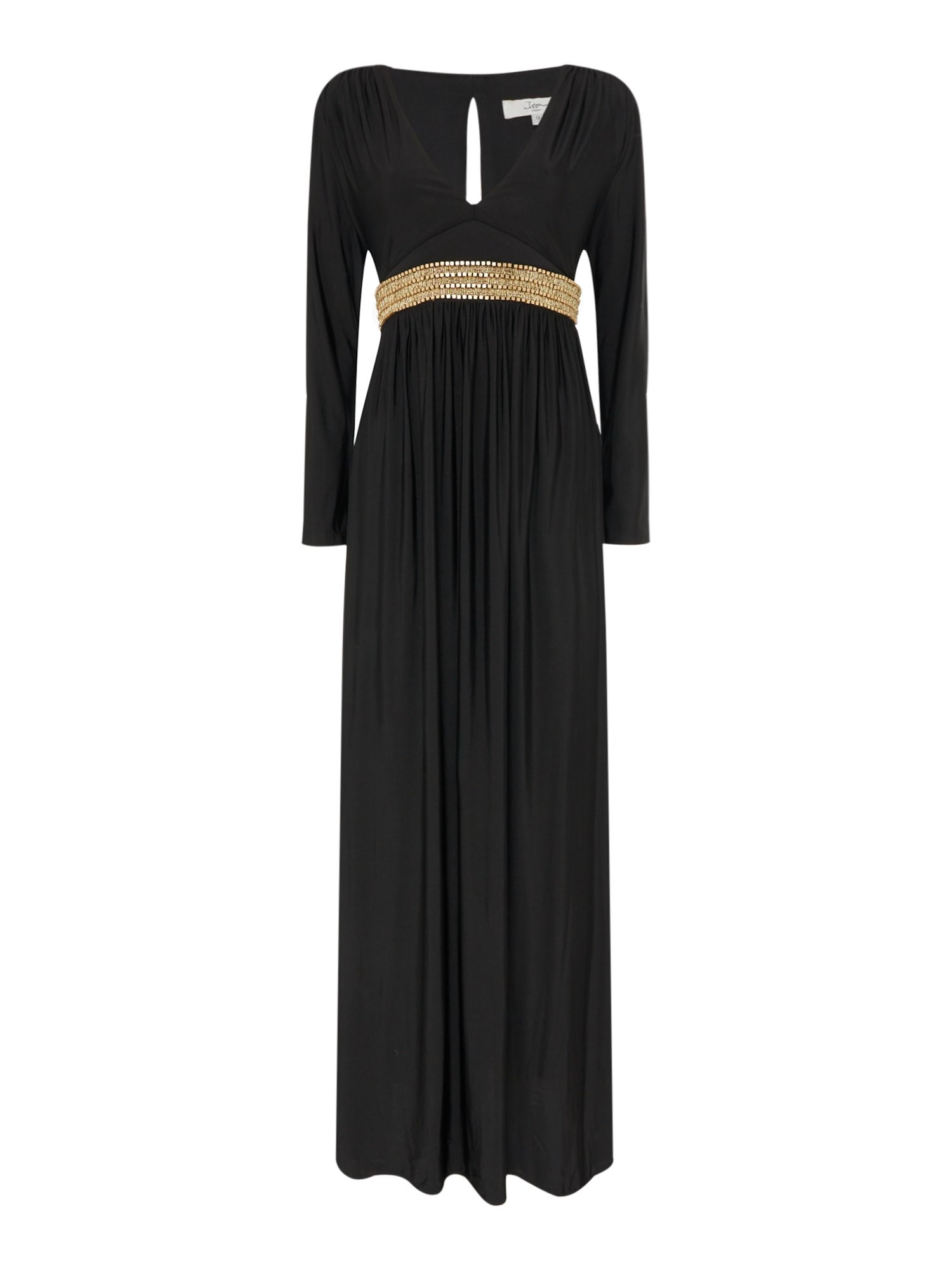 ISSA Hannah cross front embellished maxi, Black
