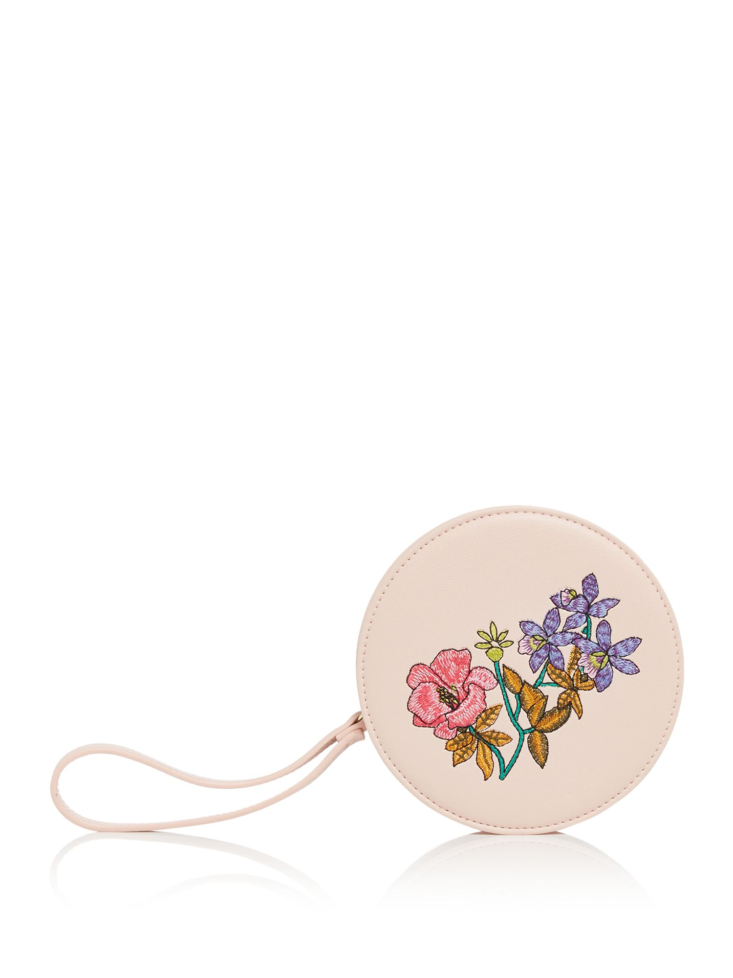 Therapy Cassie Embroidered Circle Purse, Nude