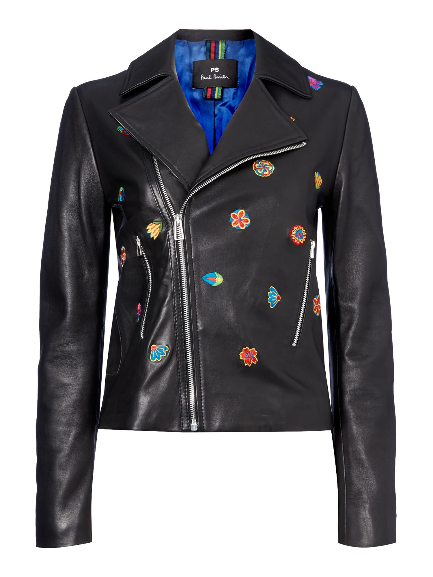 PS By Paul Smith Embroidered leather jacket, Black