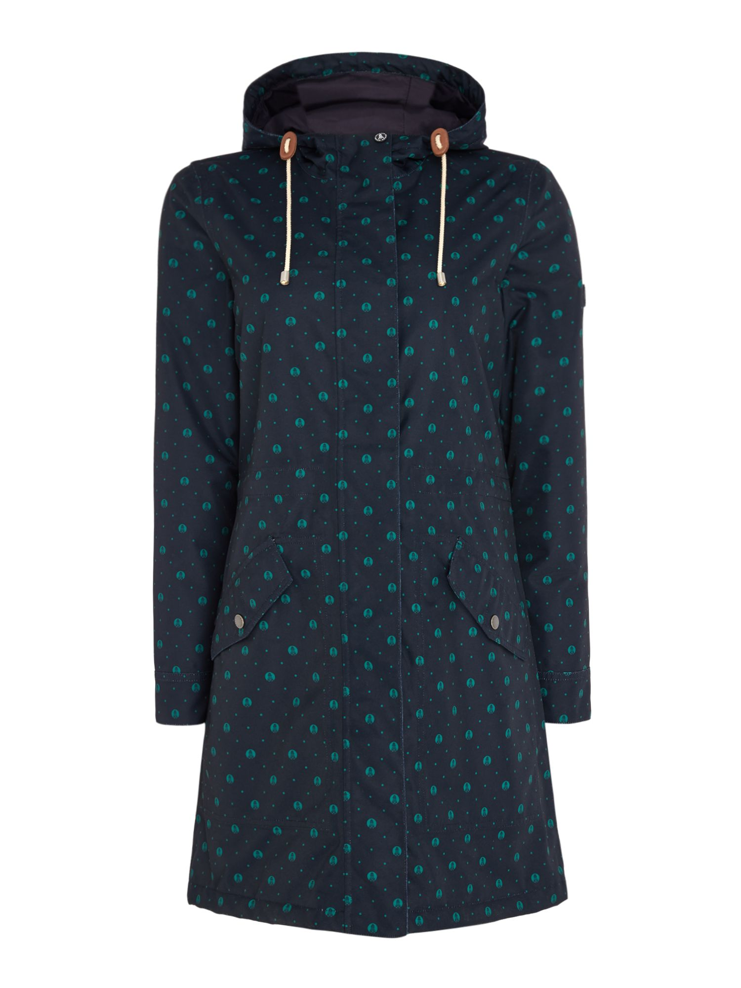 Barbour Decoy Long Printed Coat With Hood, Blue