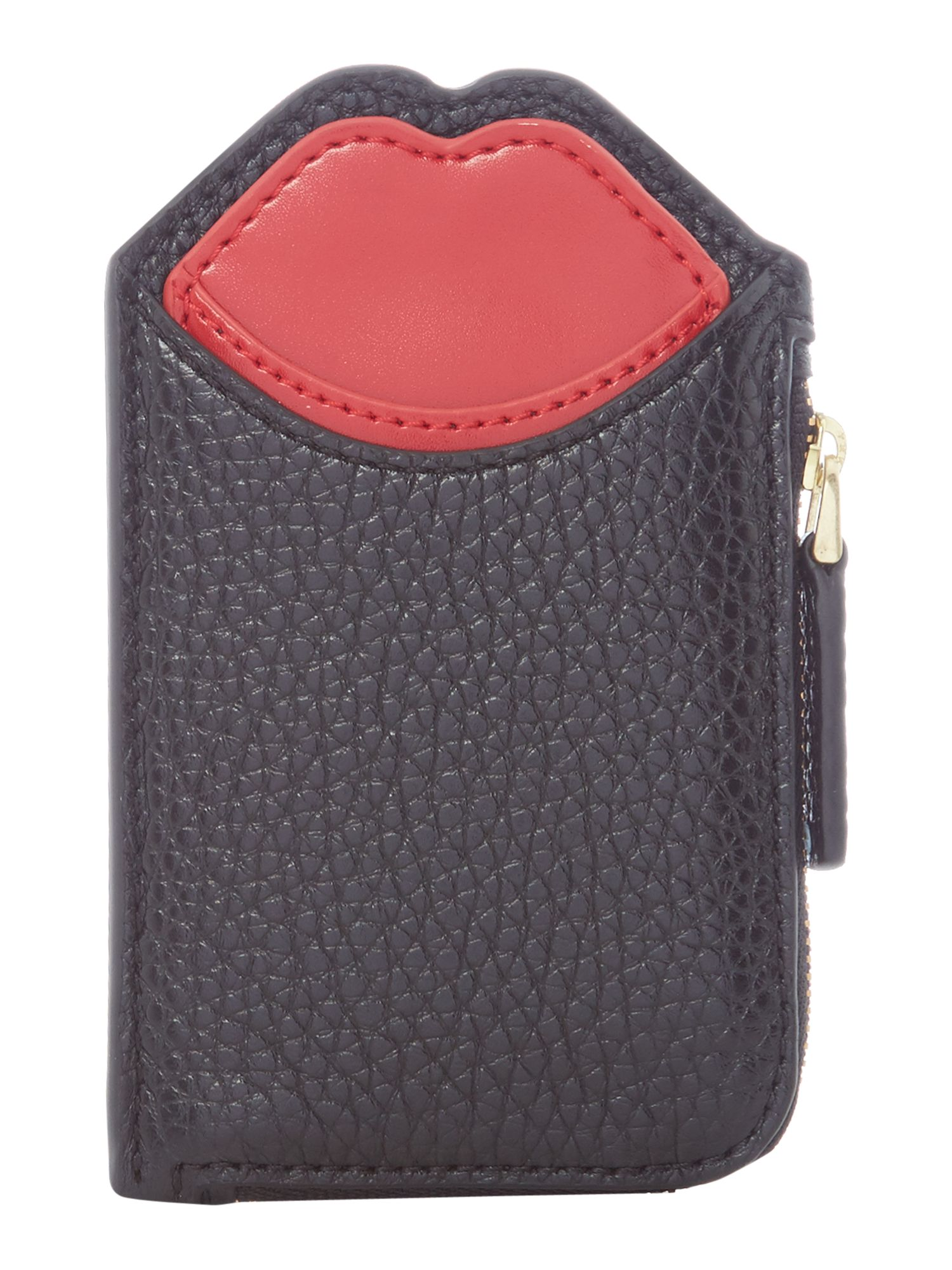 Lulu Guinness Pop up lip lilianna zip oyster purse, Black