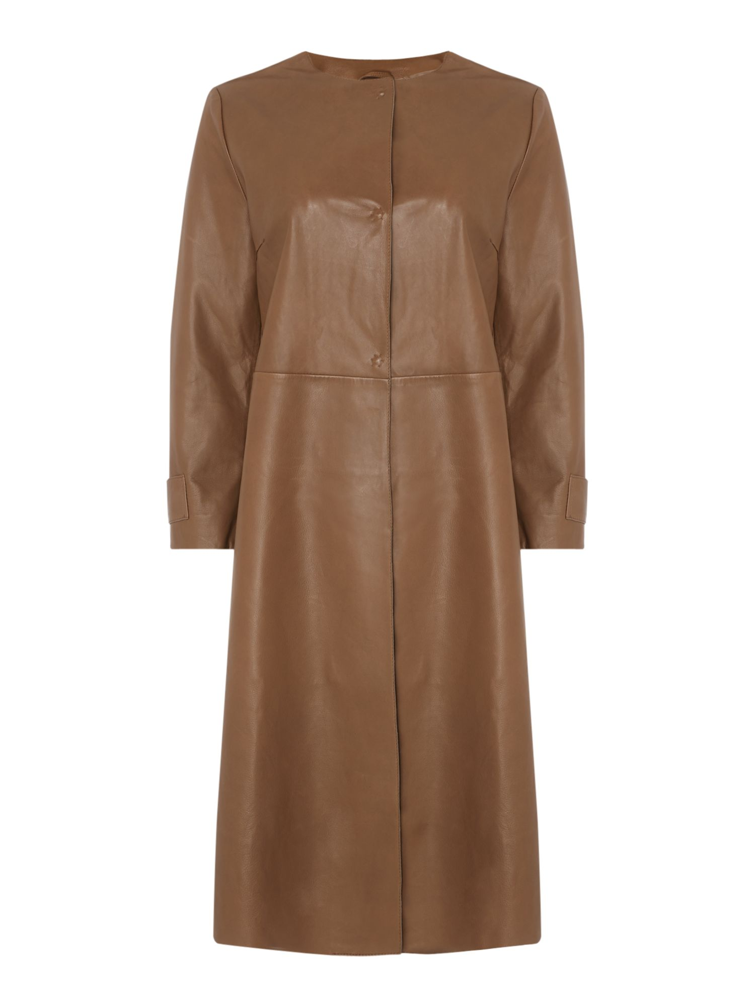 Max Mara Weekend Gioire Long Leather Coat, Brown