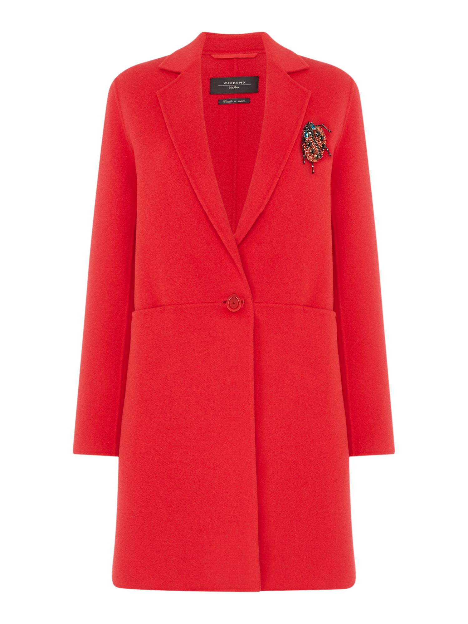 Max Mara Weekend Timoteo Red Wool Coat, Red
