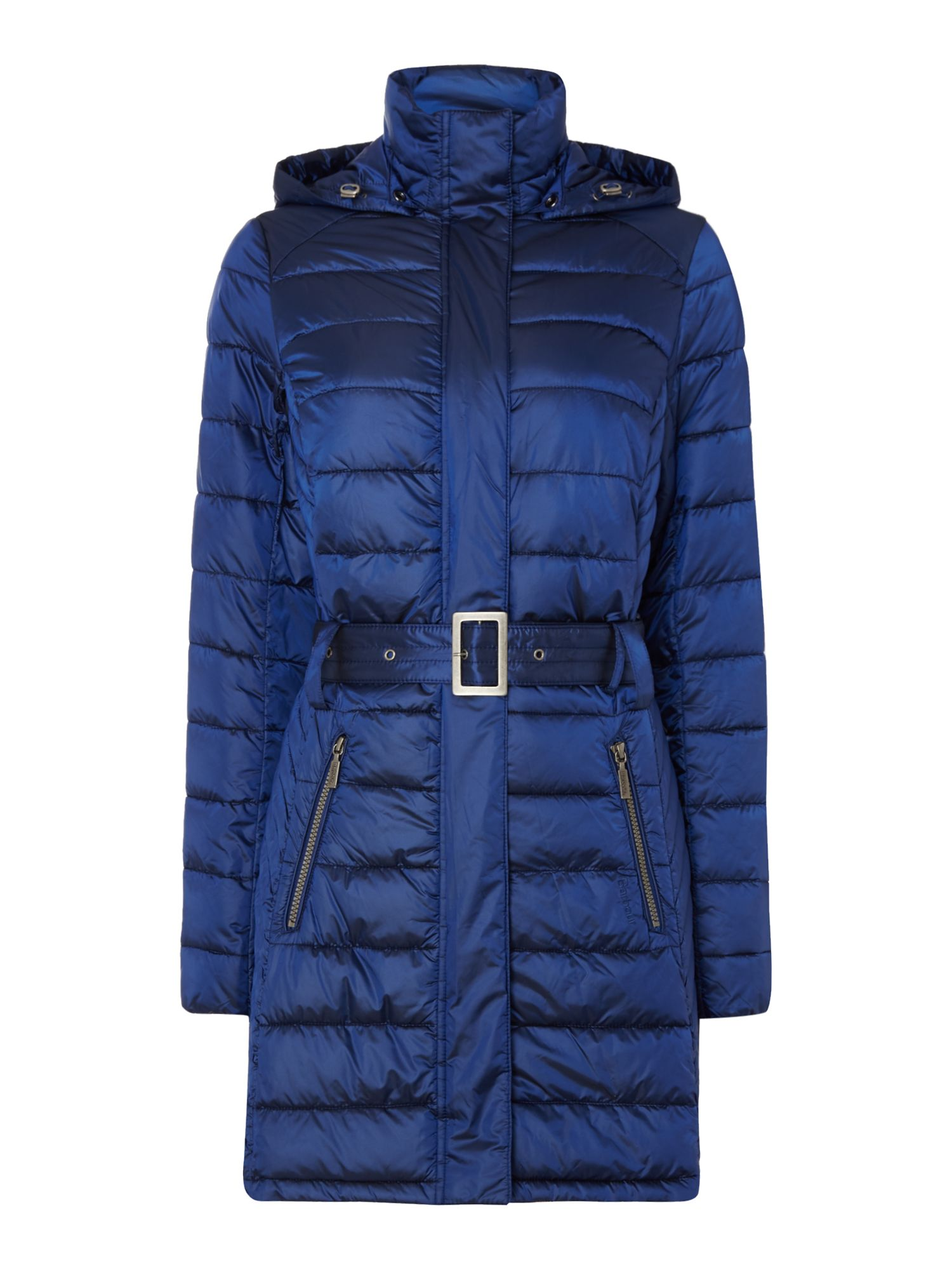 Barbour Braemar Long Quilted Coat With Hood, Sapphire Blue