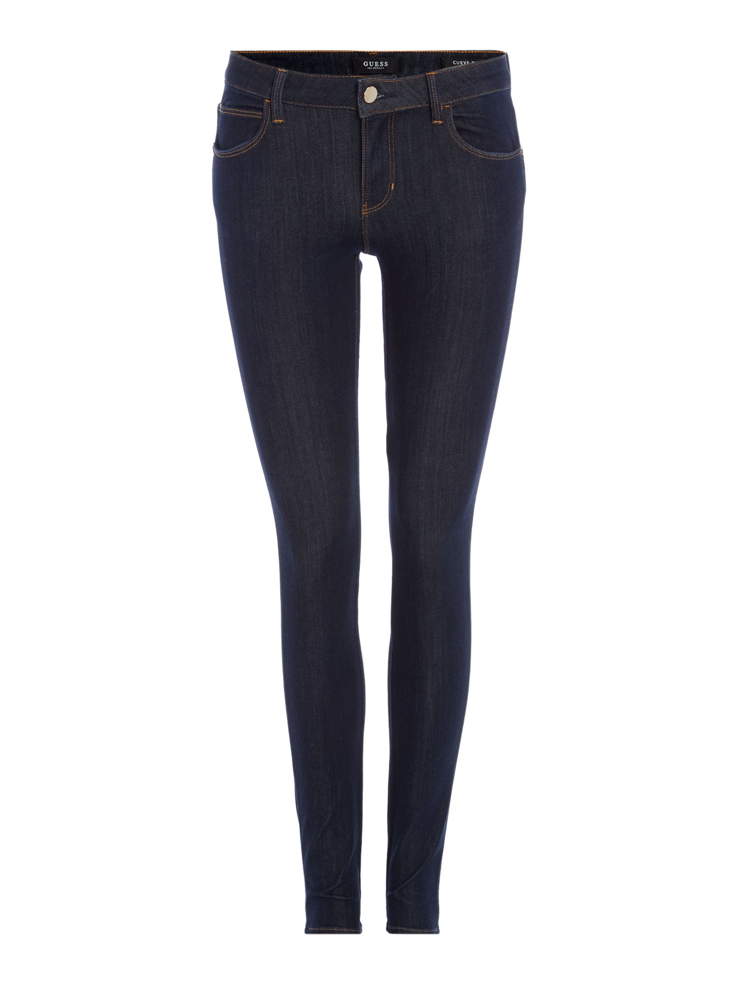 Curve X Mid Rise Skinny Jeans In Blue Deluxe, Denim Mid Wash