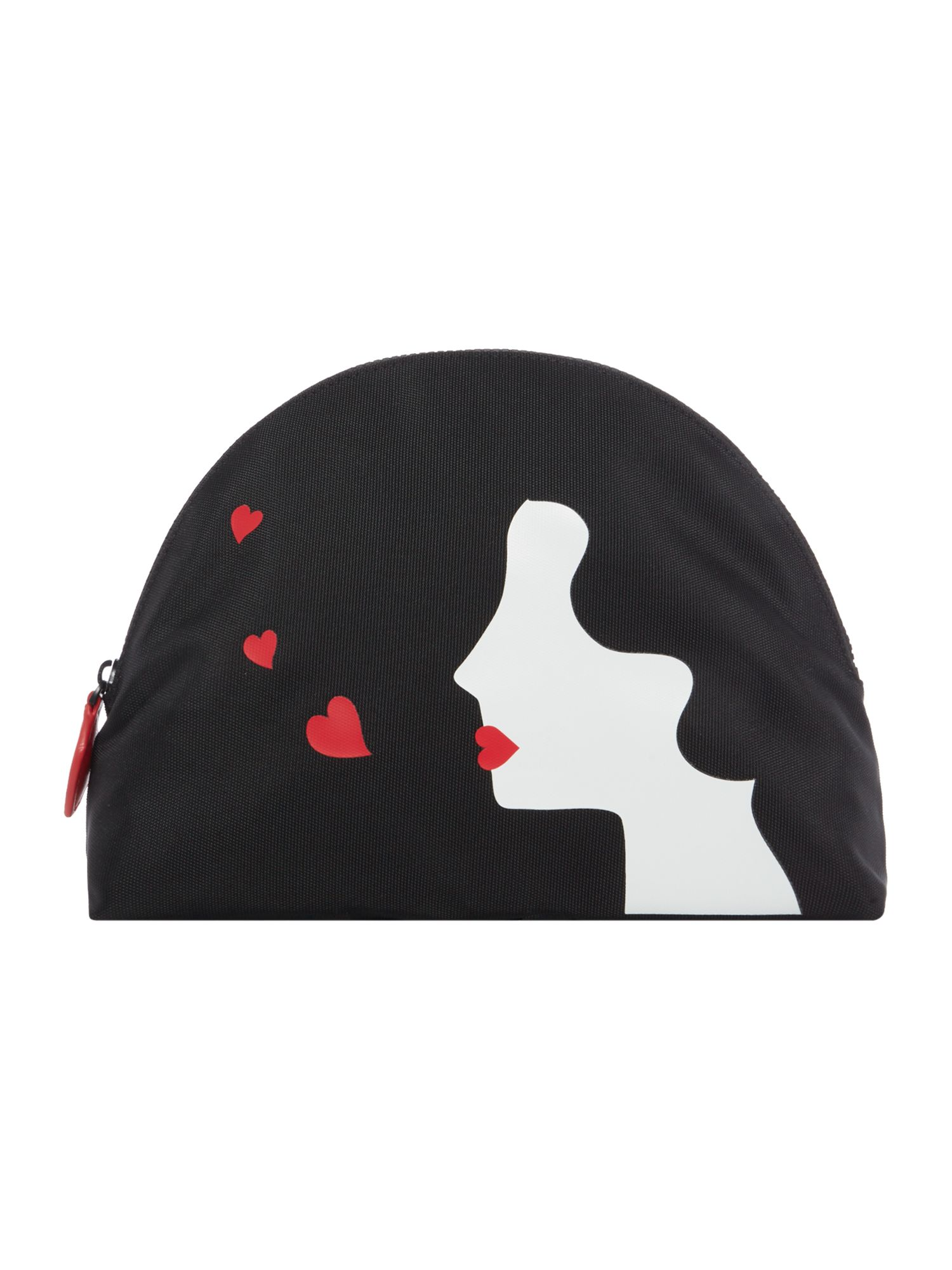 Lulu Guinness Kissing cameo large crescent pouch, Black