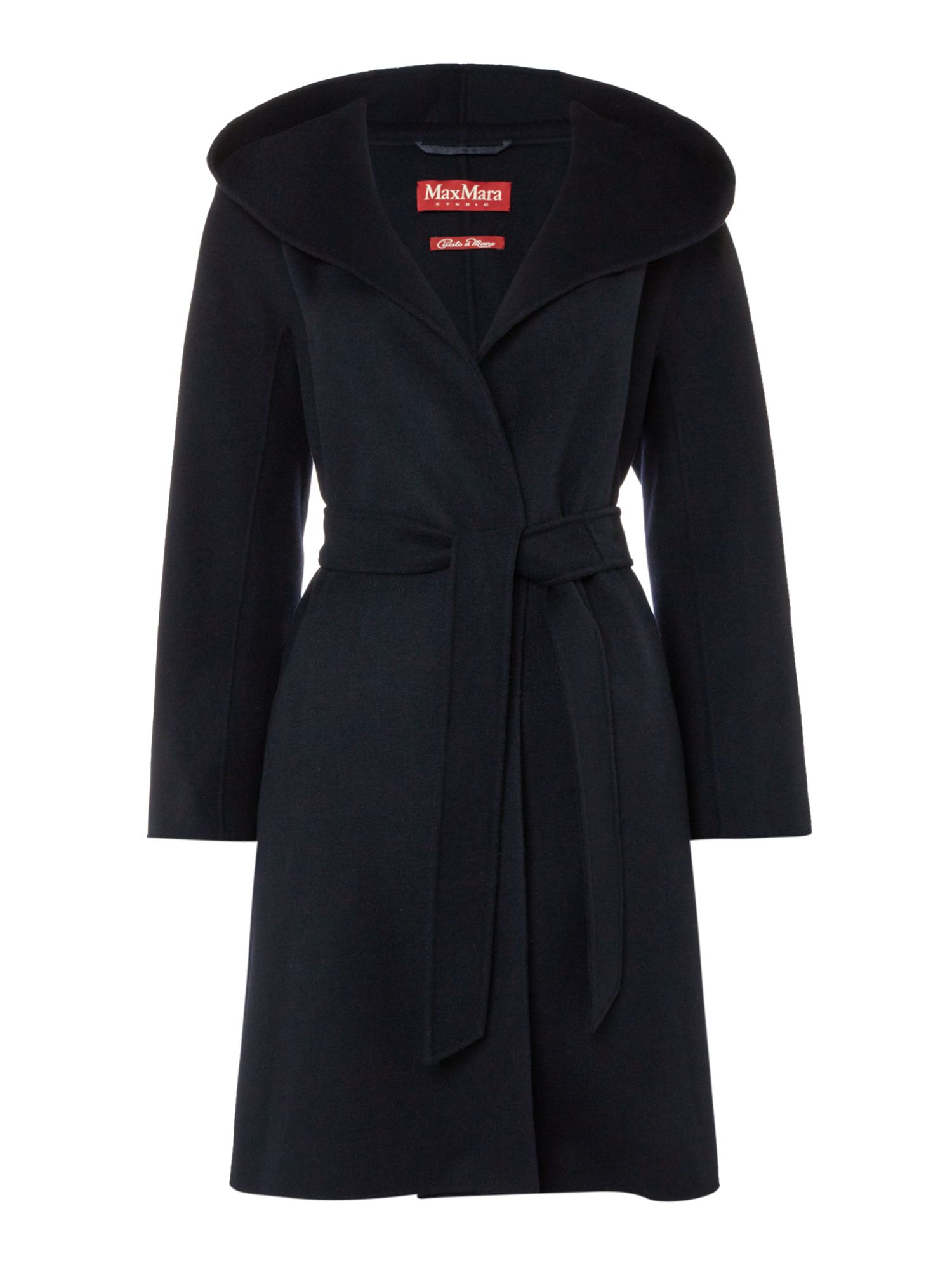 Max Mara Studio Zulma Wrap Coat With Hood, Blue