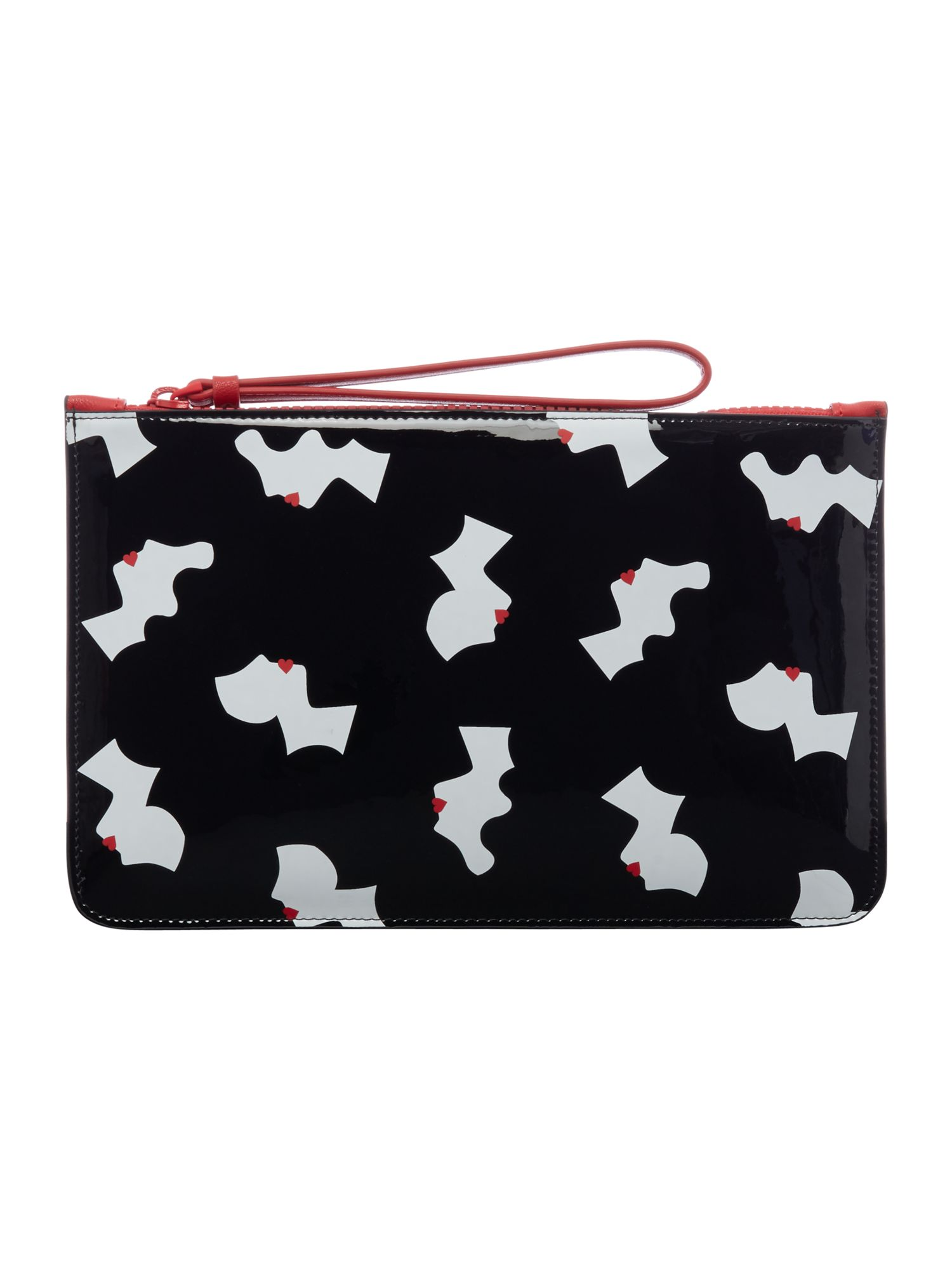 Lulu Guinness Kissing cameo top zip pouch, Black
