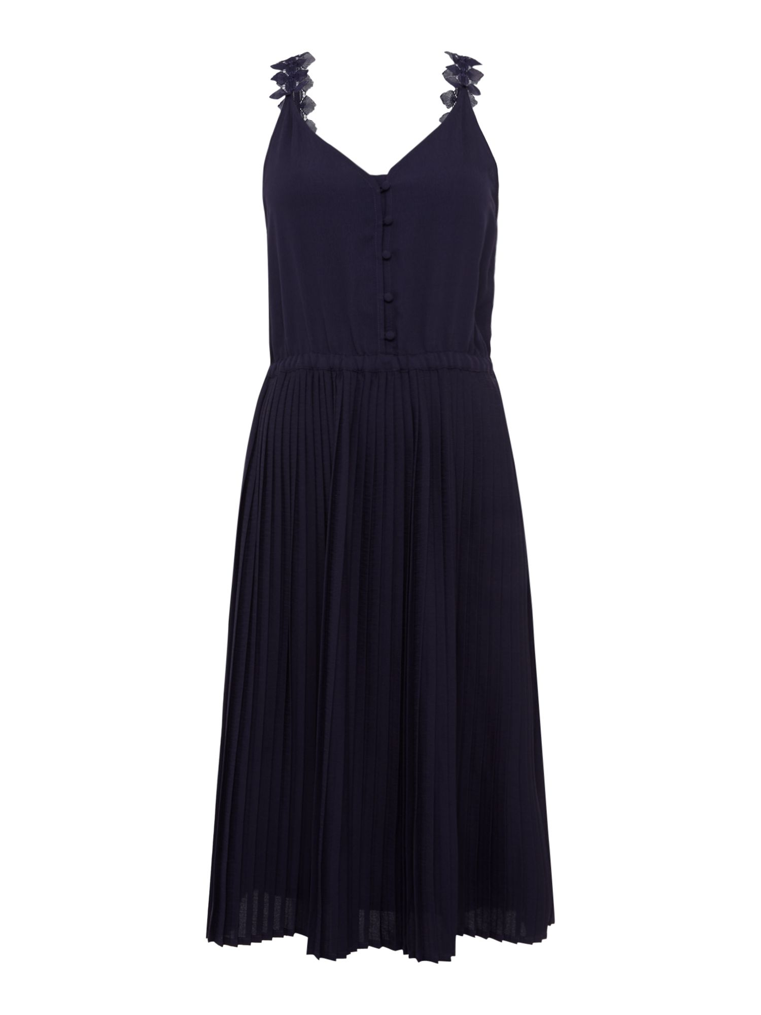 Sessun Dinah dress with pleated skirt and emb, Indigo
