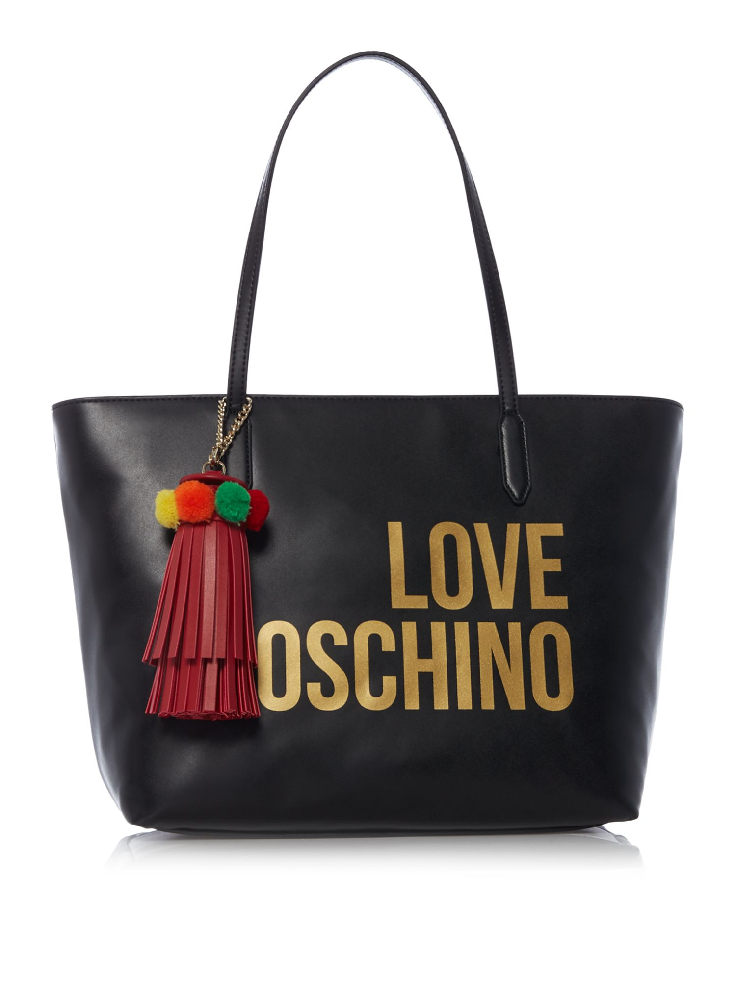Love Moschino Logo and tassel large tote, Black