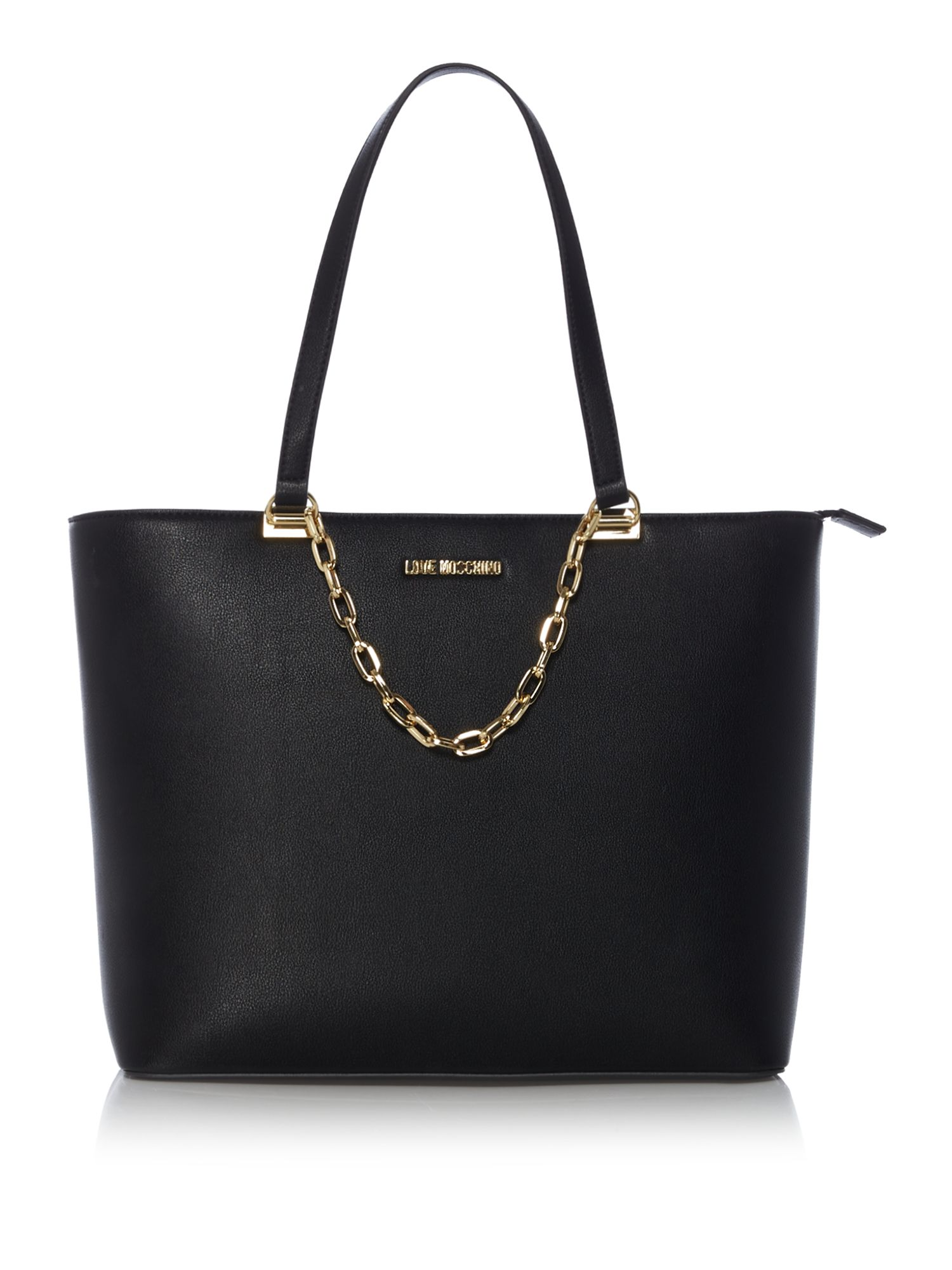 Love Moschino Gold chain large tote bag, Black