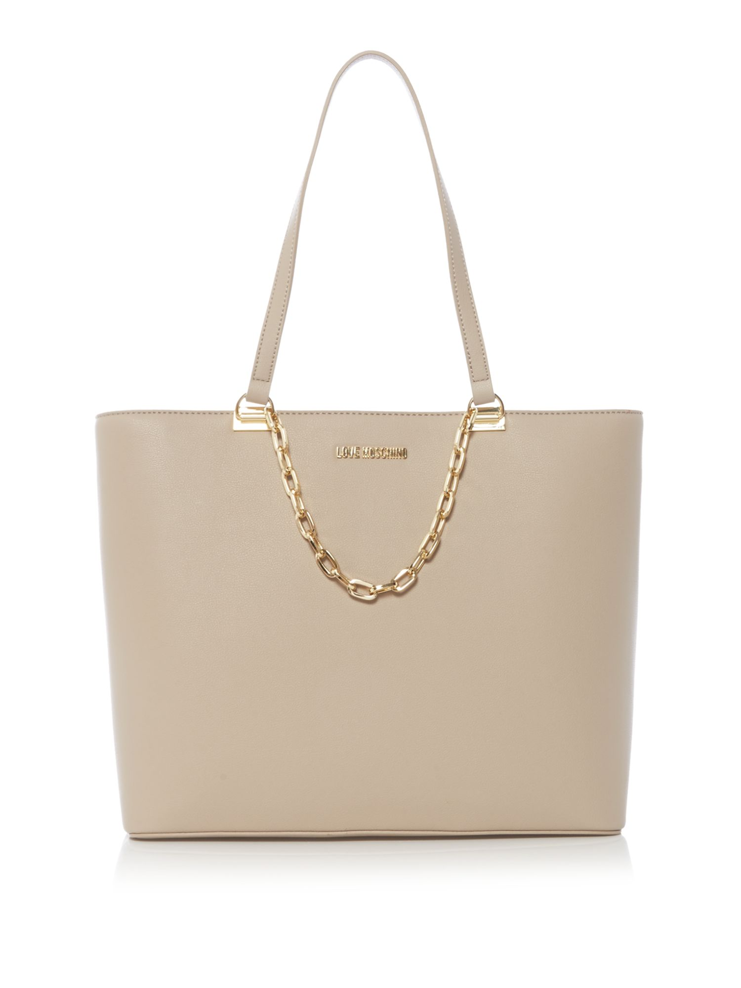 Love Moschino Gold chain large tote bag, Taupe