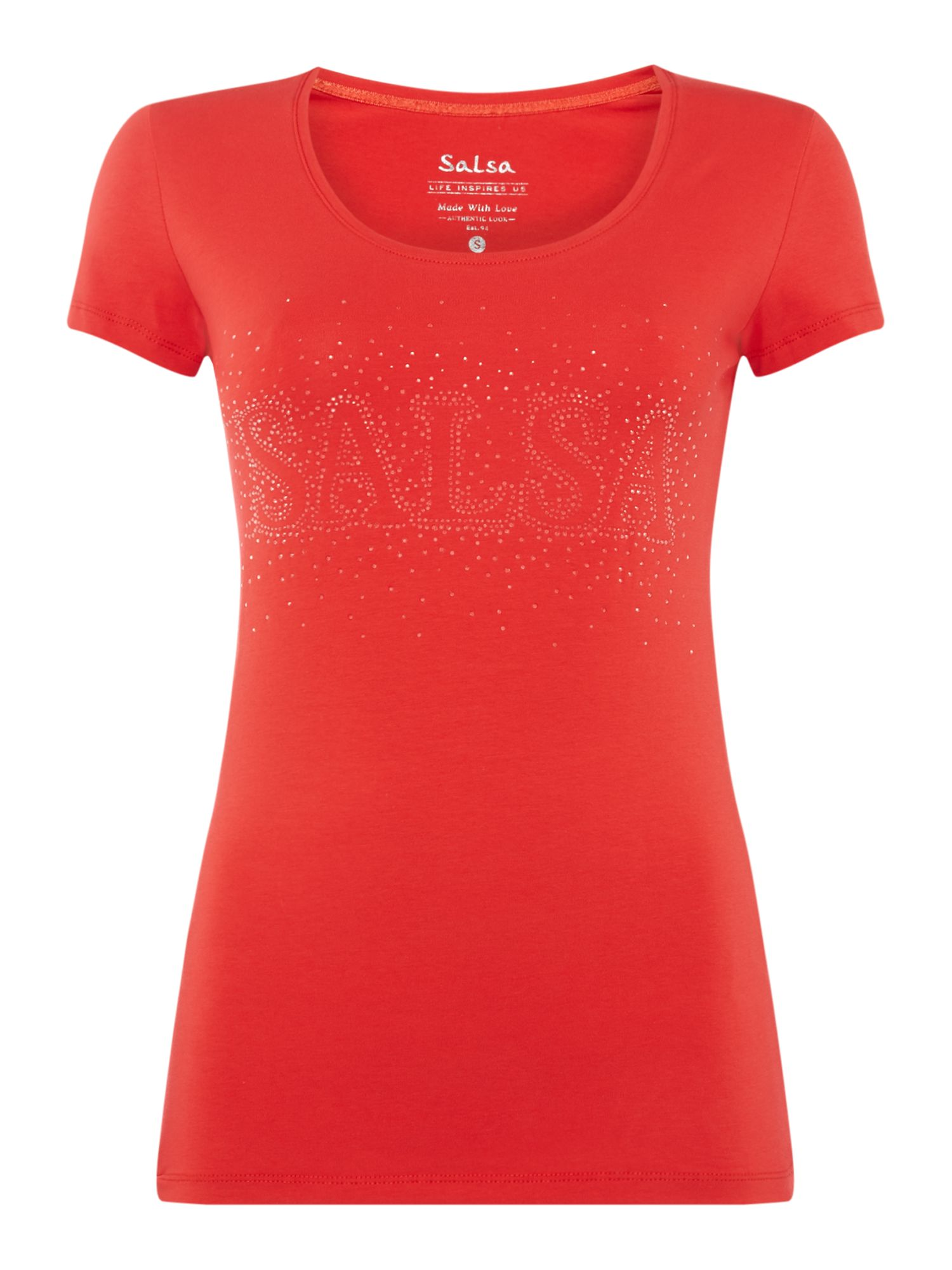 Salsa Short Sleeve Crew Neck Top With Logo, Red
