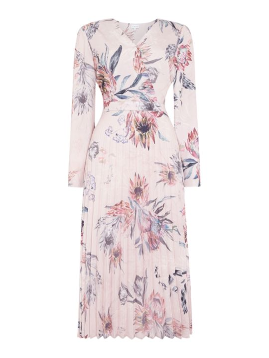 Linea Drew Floral Printed Pleated Dress