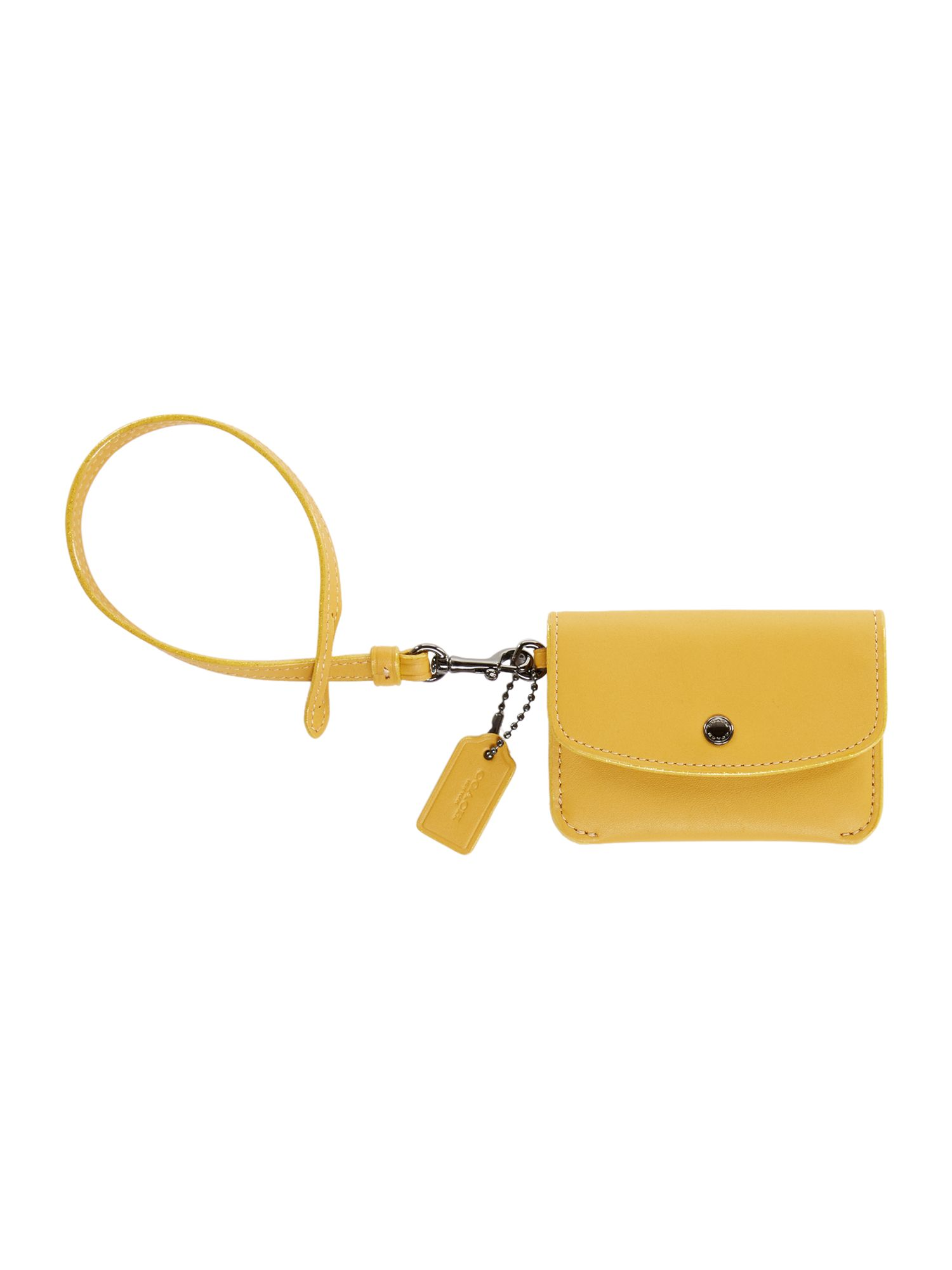 Coach Card Pouch With Tie Strap, Yellow