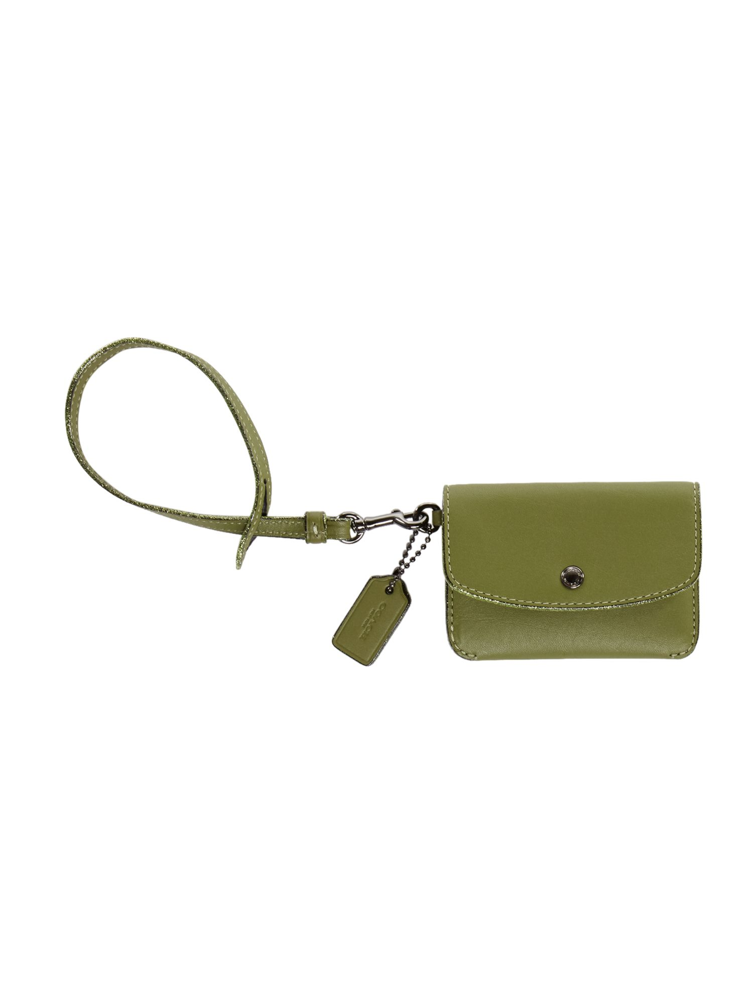 Coach Card Pouch With Tie Strap, Green