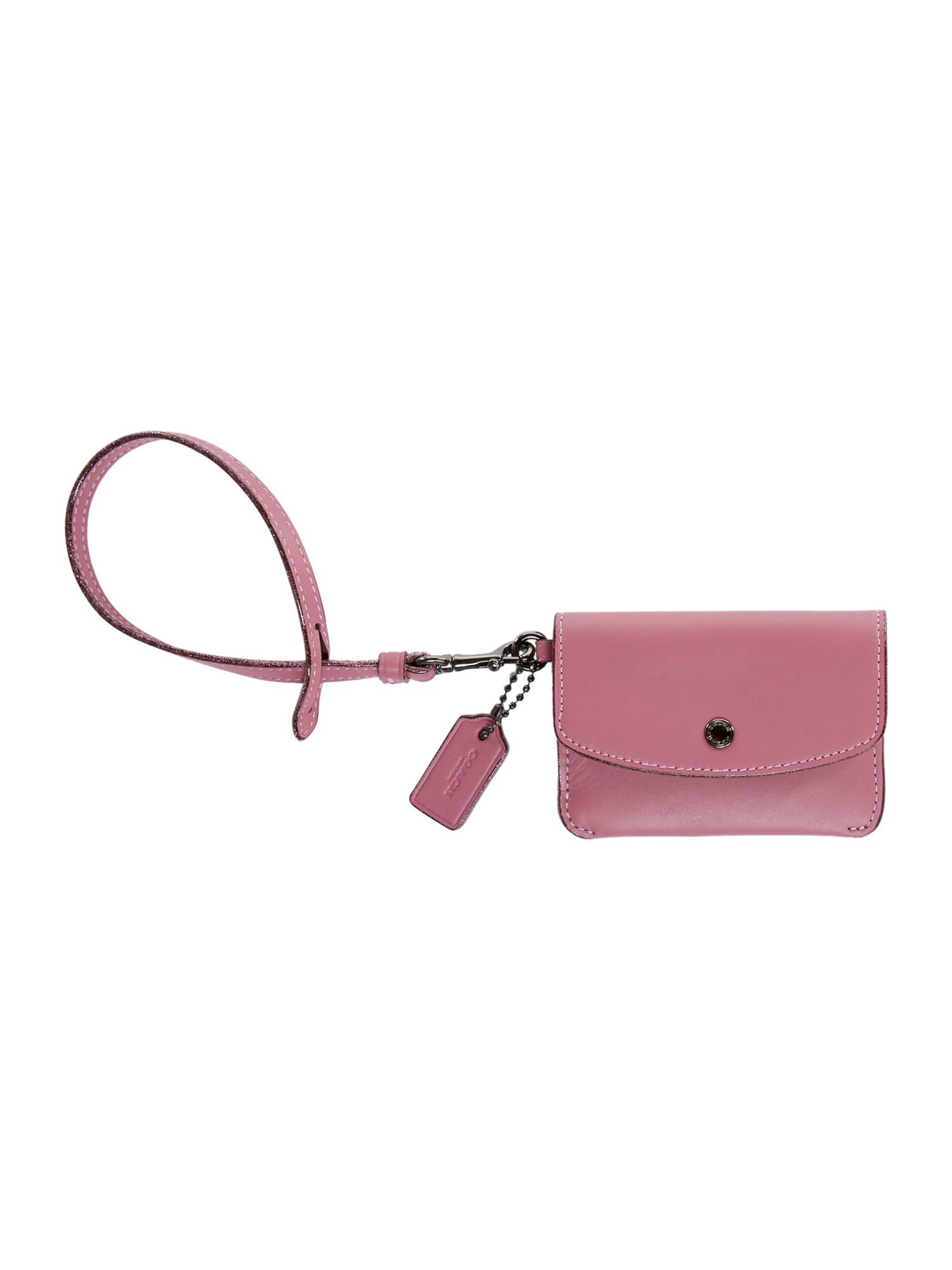 Coach Card Pouch With Tie Strap, Pink