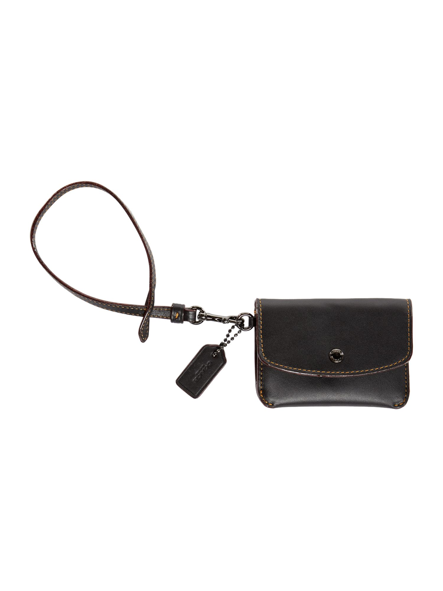 Coach Card Pouch With Tie Strap, Black