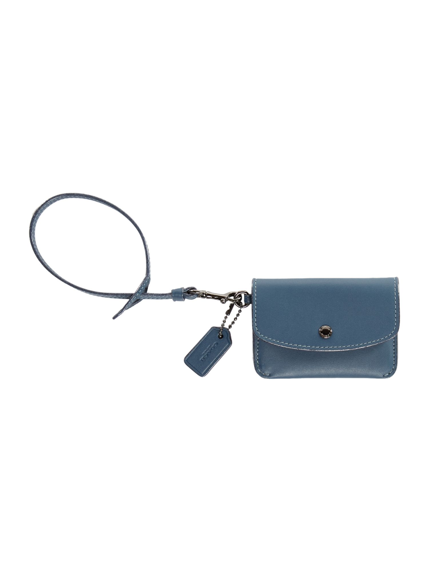 Coach Card Pouch With Tie Strap, Blue