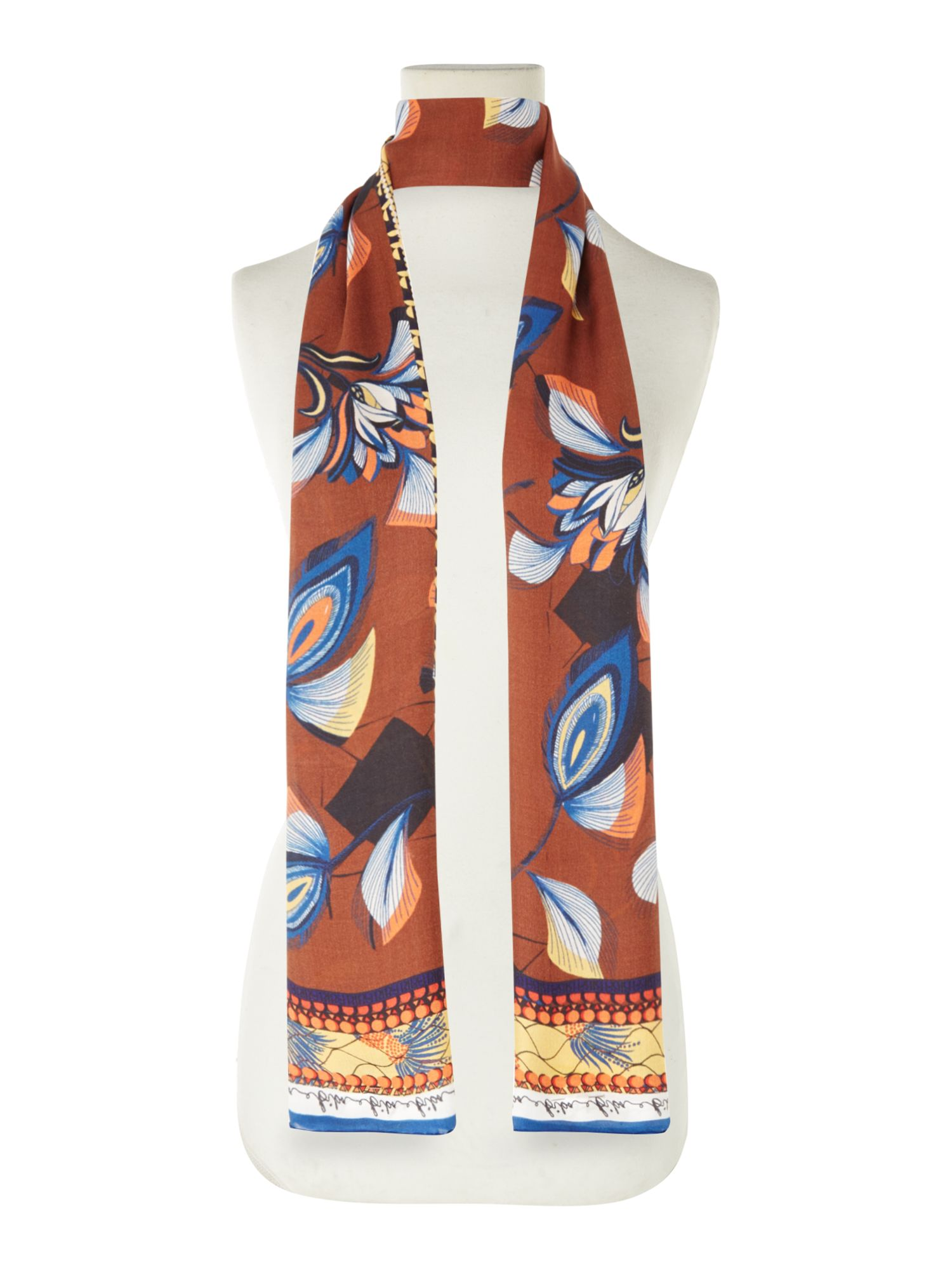 Biba Anik multi print silk scarf, Multi-Coloured