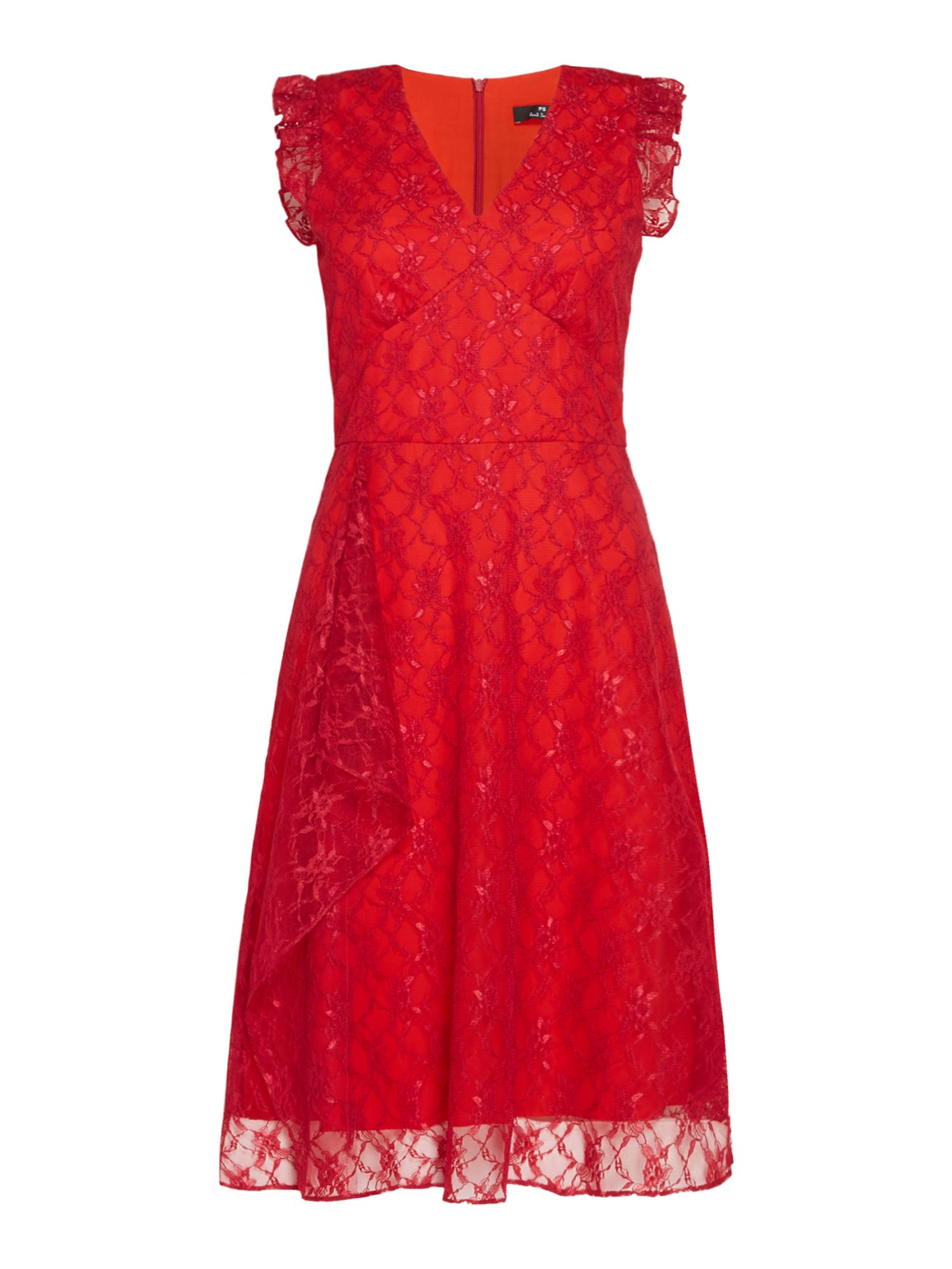 PS By Paul Smith Lace frill front dress, Red