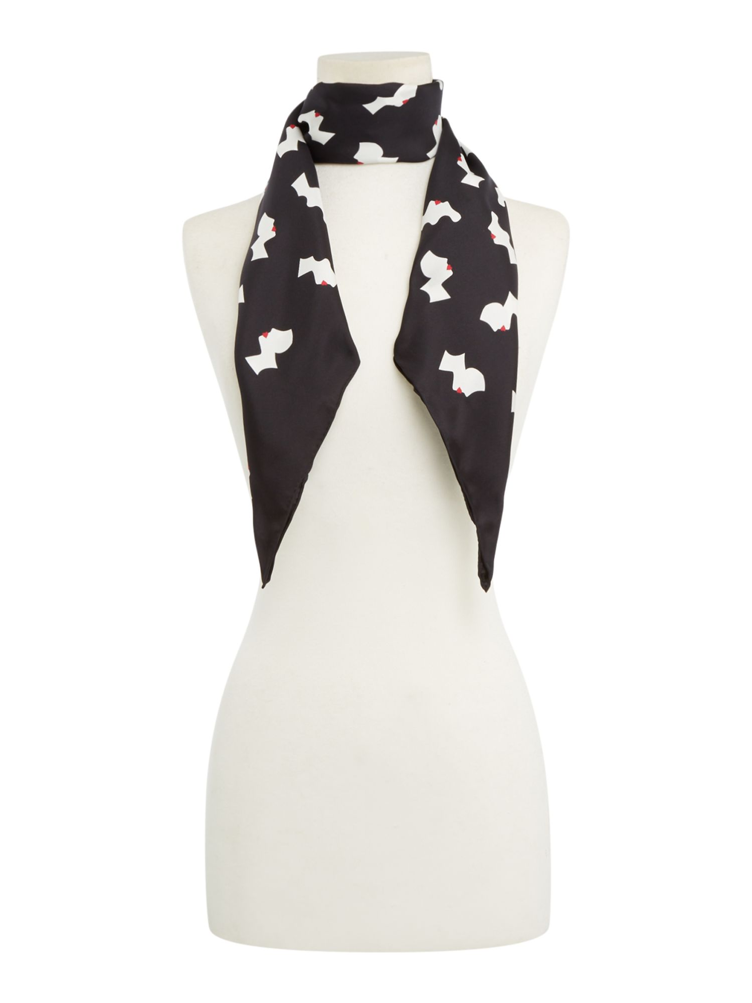 Lulu Guinness Kissing cameo silk twill scarf, Black