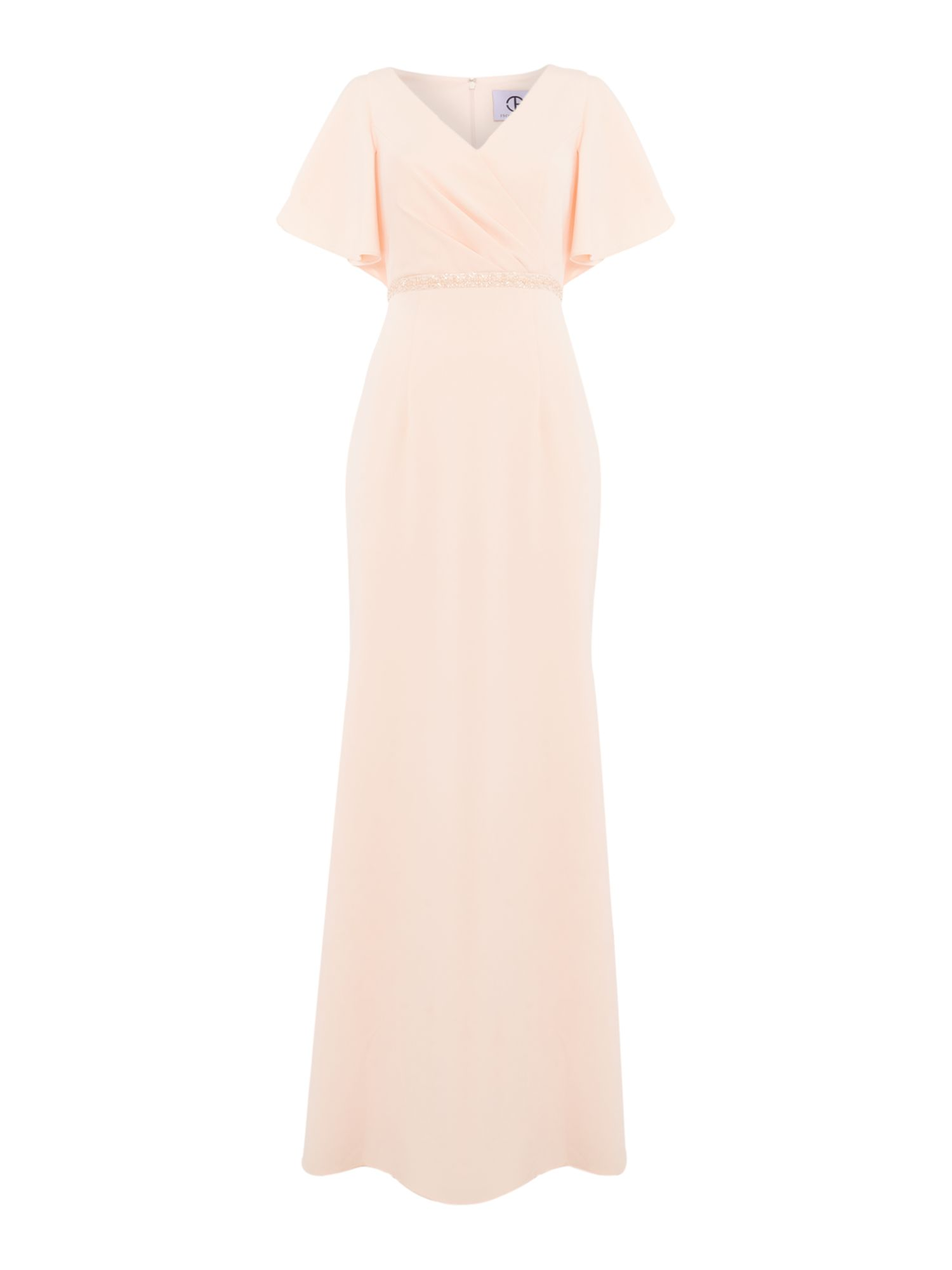 JS Collections V neck gown, Pink