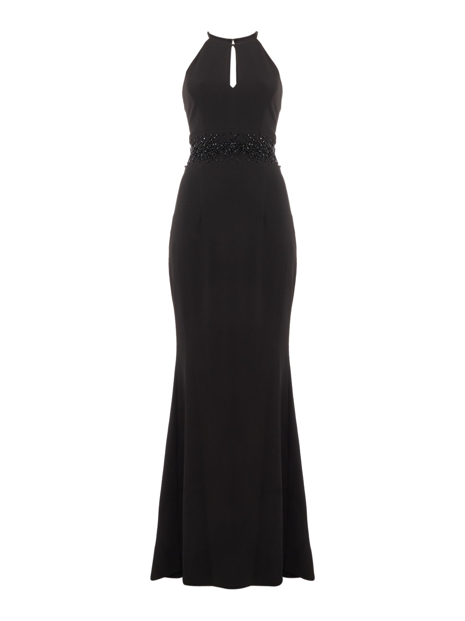 JS Collections Gown with key hole detail, Black
