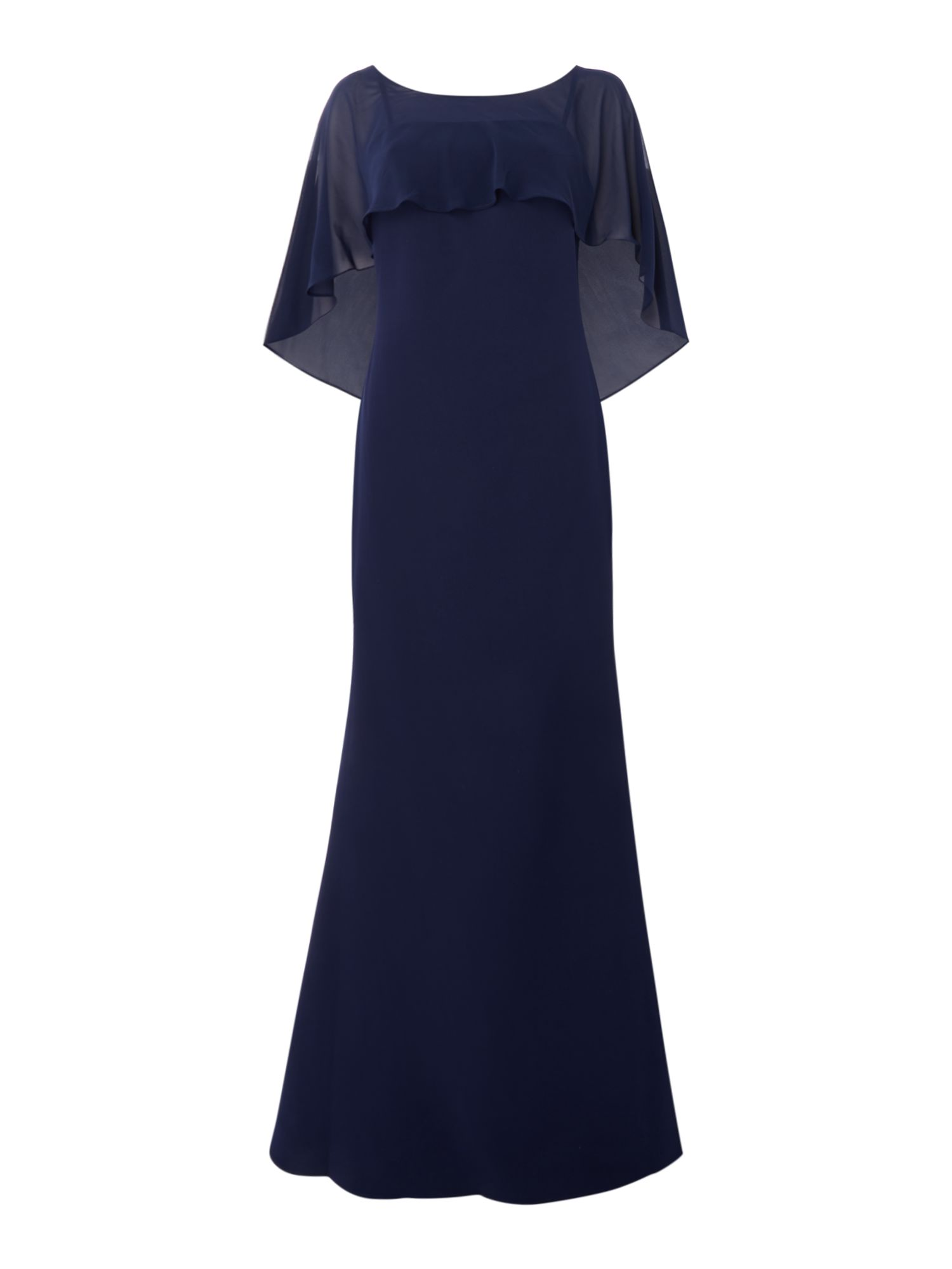 JS Collections Gown with cape back, Blue