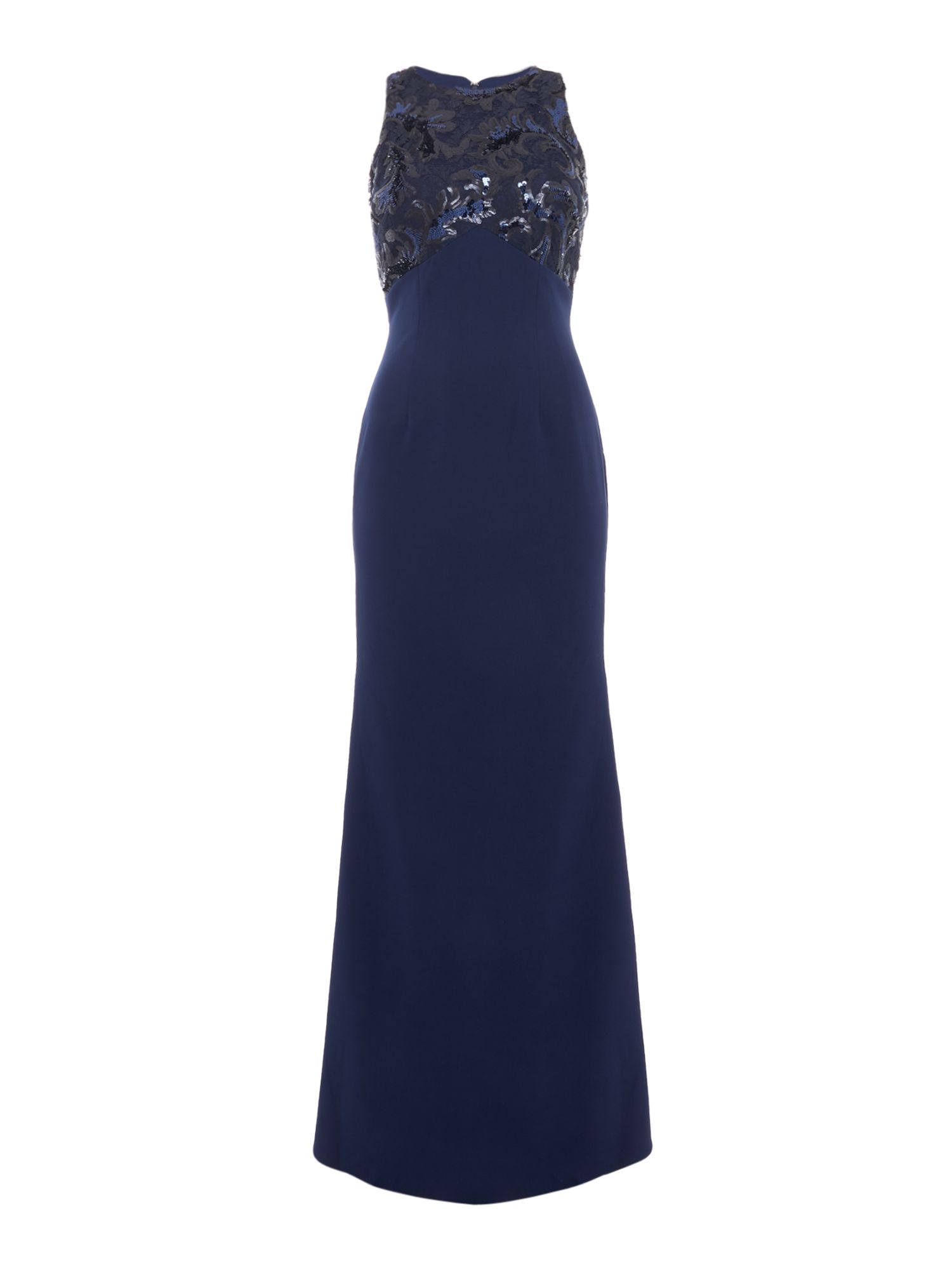JS Collections High neck sequin gown, Blue