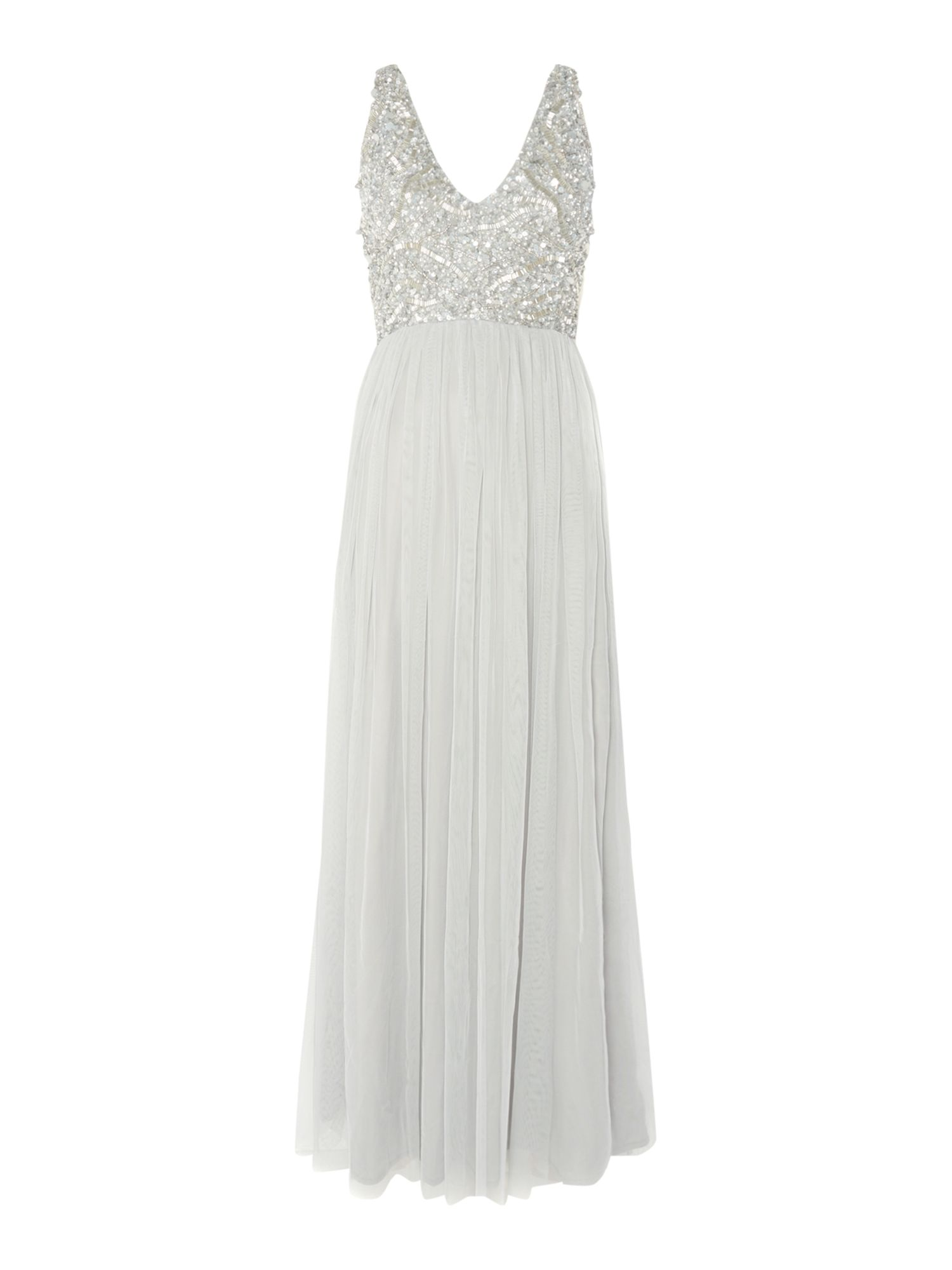 Lace and Beads Sequin top pleated maxi dress, Light Grey