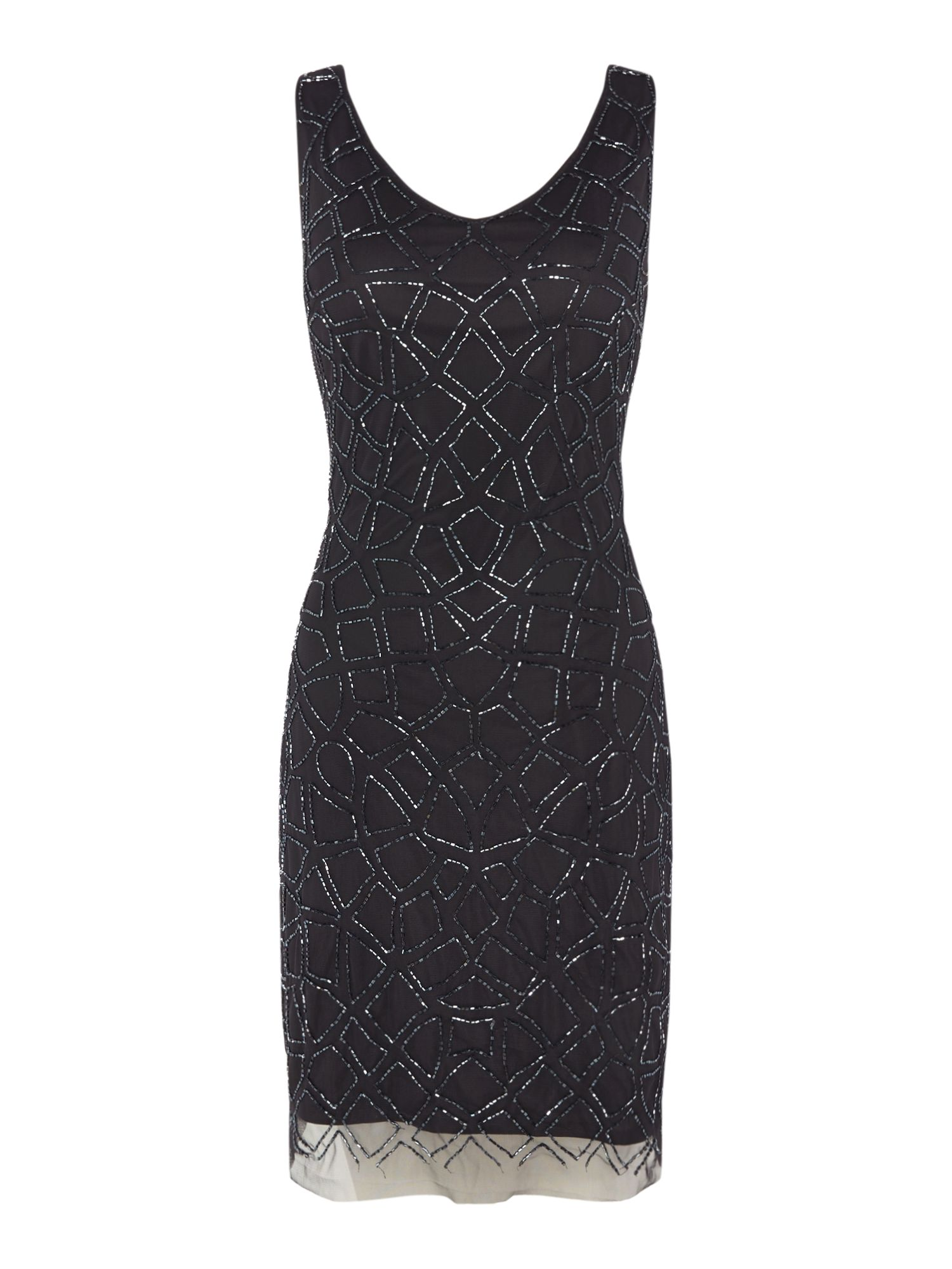 Lace and Beads V neck sequin shift dress, Dark Grey
