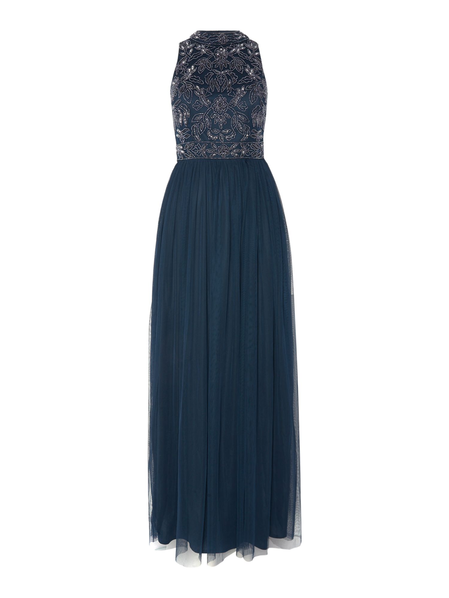 Lace and Beads Short sleeve high neck maxi dress, Blue