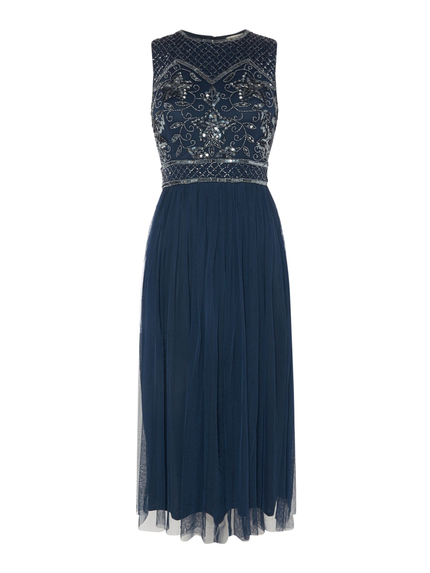 Lace and Beads Sequin top midi skater dress, Blue